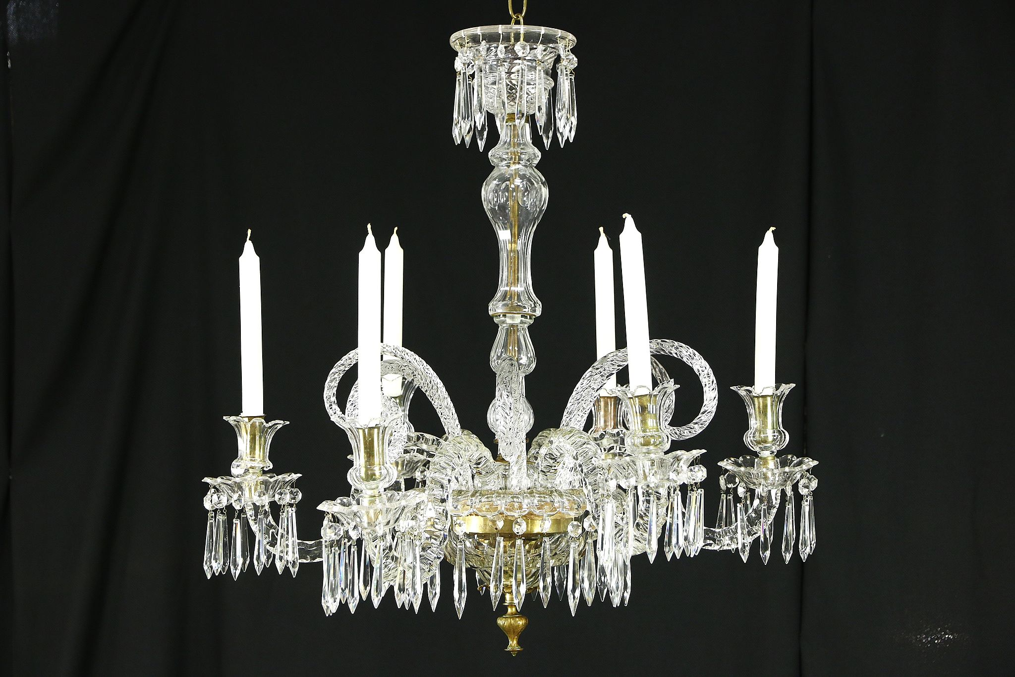 big sale b2026 ac35b Crystal Cut Glass 1850's Antique 6 Candle Non Electric Chandelier