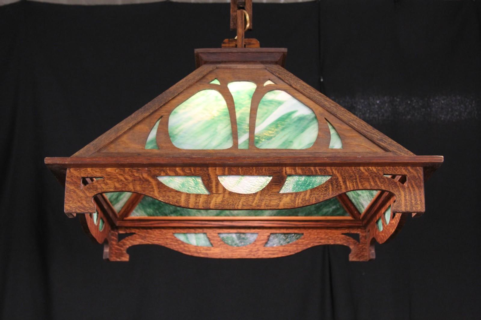Arts Crafts Mission Oak 1905 Stained Gl Pendant Chandelier Light Fixture