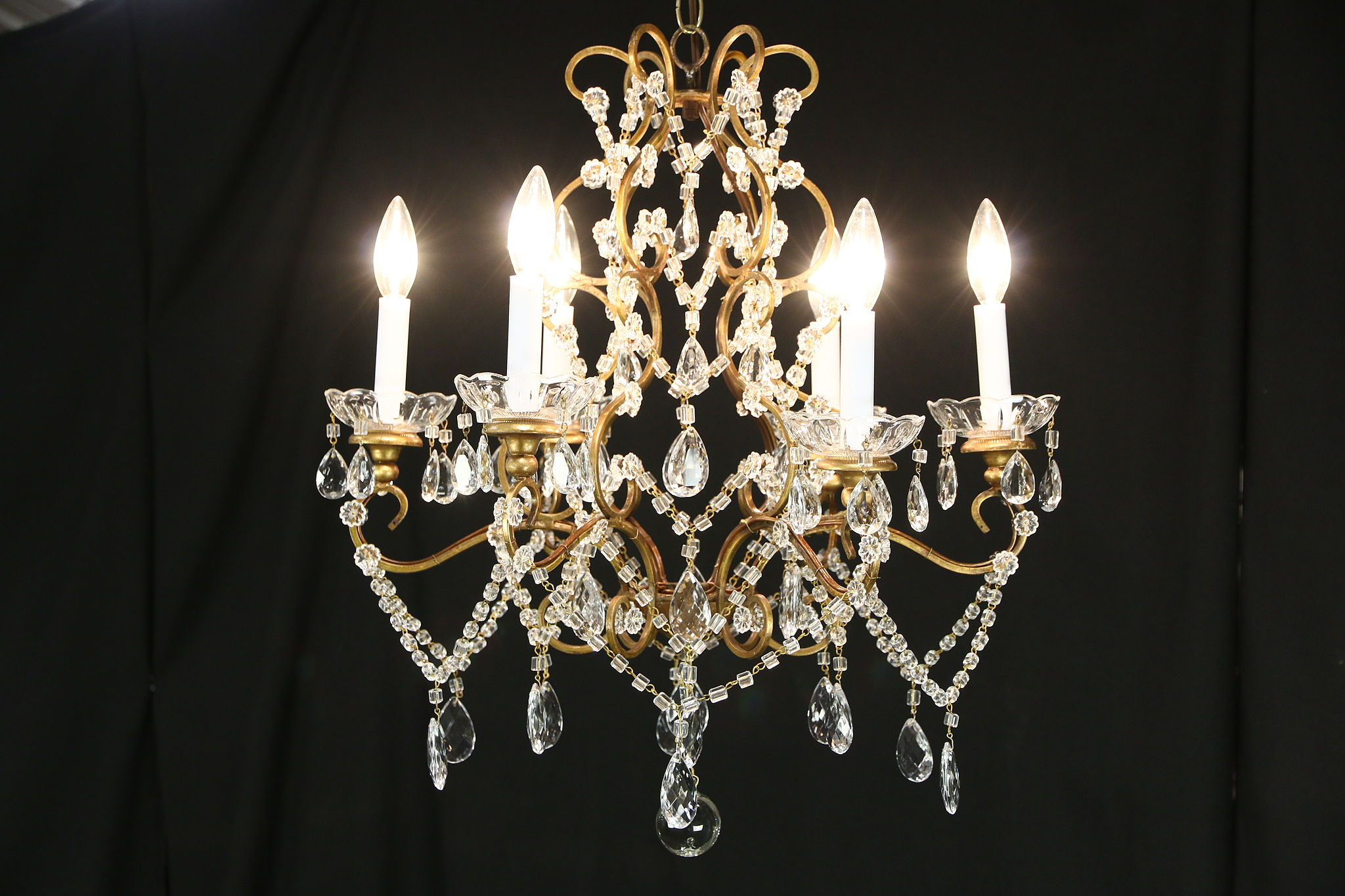 Sold six candle 1940s vintage chandelier crystal prisms beads six candle 1940s vintage chandelier crystal prisms beads ball aloadofball Image collections