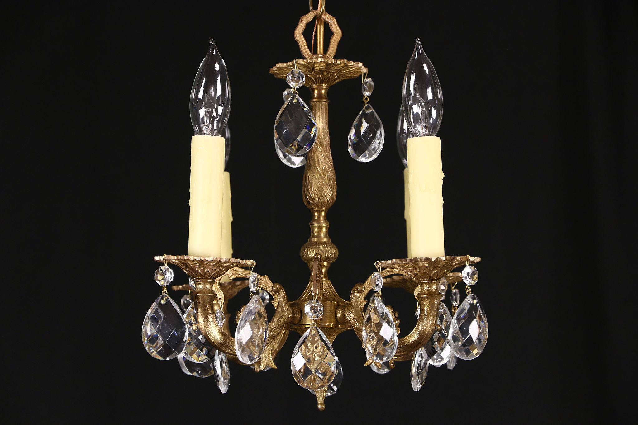 Sold Brass Crystal Vintage Small Chandelier 4 Candles Harp Gallery Antiques Furniture