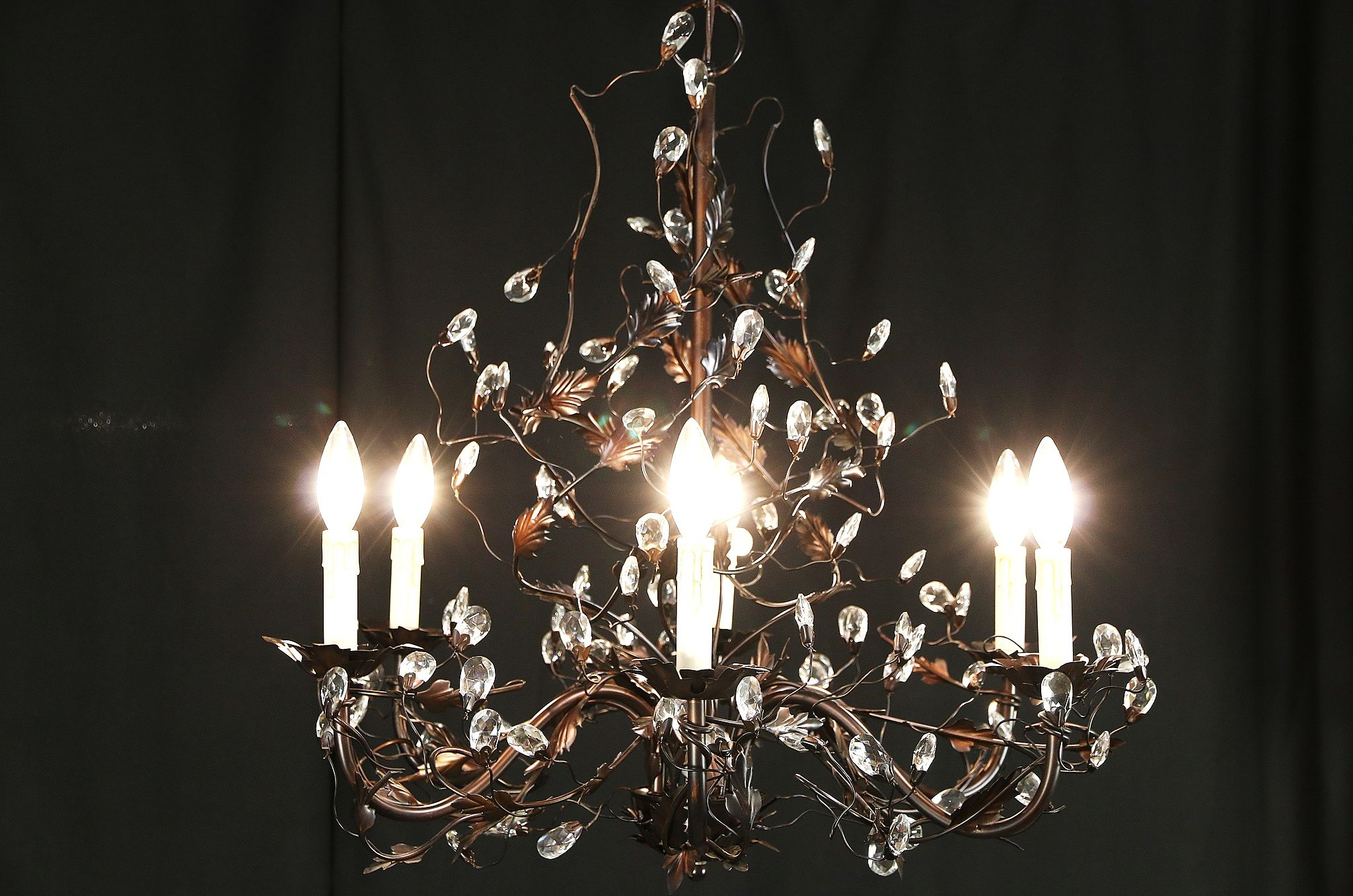 SOLD Wrought Iron Vine & Crystal Chandelier 6 Candles Harp