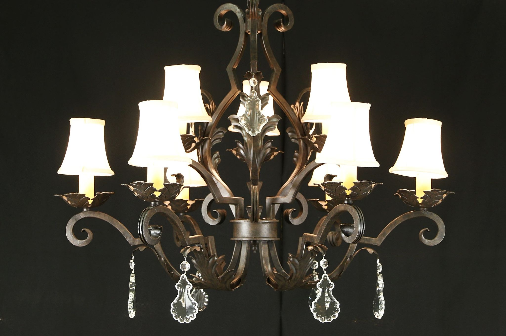 Sold wrought iron statuary bronze 9 candle 36 wide chandelier wrought iron statuary bronze 9 candle 36 wide chandelier crystal prisms aloadofball Choice Image
