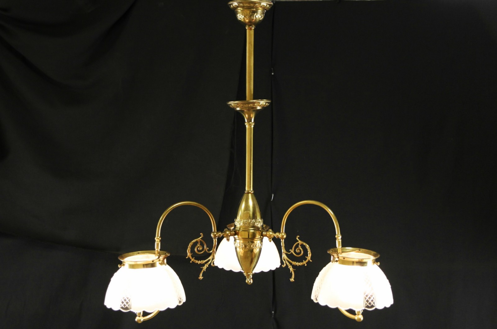 Sold victorian 1890s antique 3 light gas chandelier electrified harp gallery