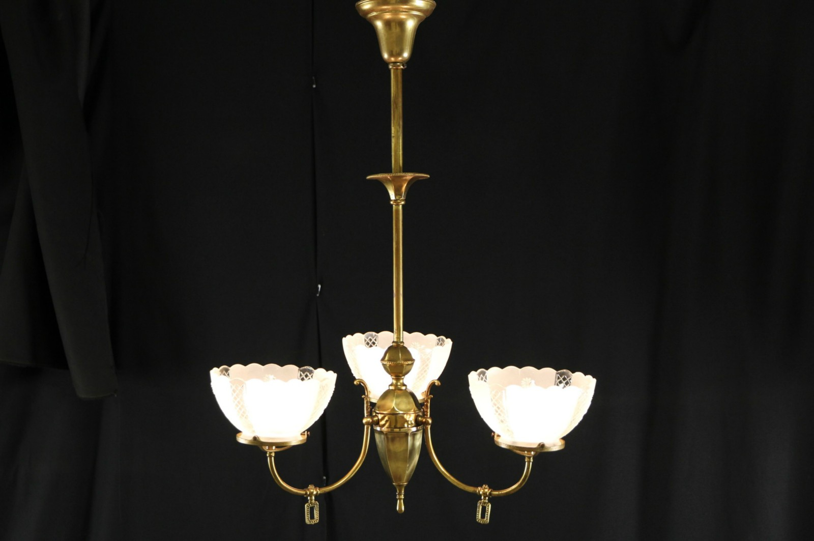 Sold victorian 1890s antique 3 light gas chandelier electrified victorian 1890s antique 3 light gas chandelier electrified shades arubaitofo Images