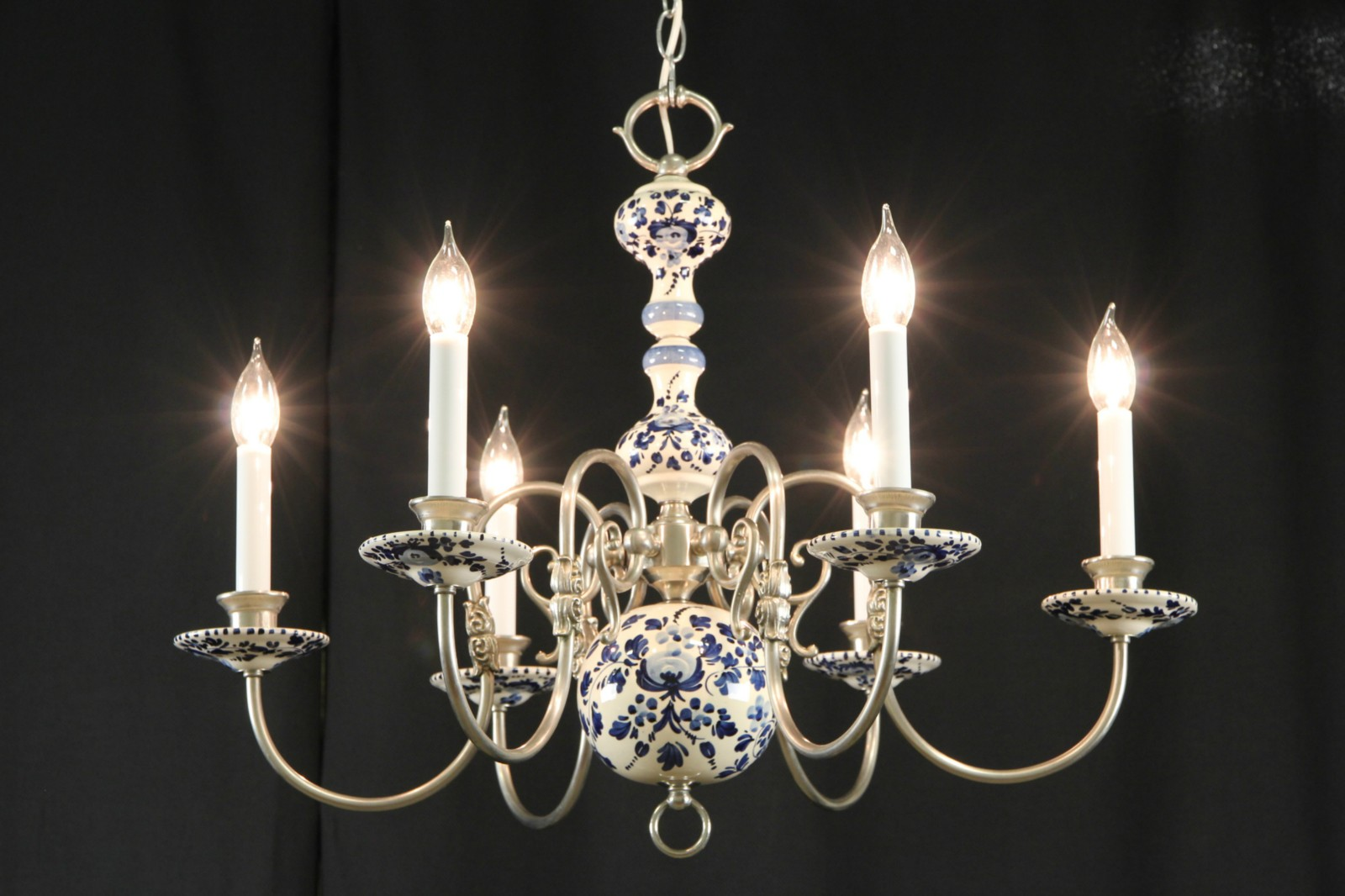 Sold blue delft china pewter vintage chandelier harp gallery blue delft china pewter vintage chandelier aloadofball Gallery