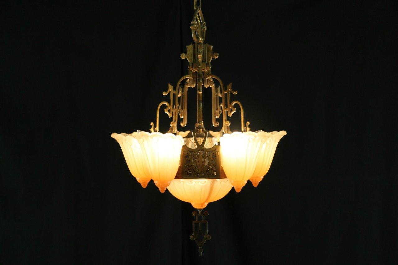 Sold antique art deco 1920s chandelier original etched glass antique art deco 1920s chandelier original etched glass arubaitofo Gallery