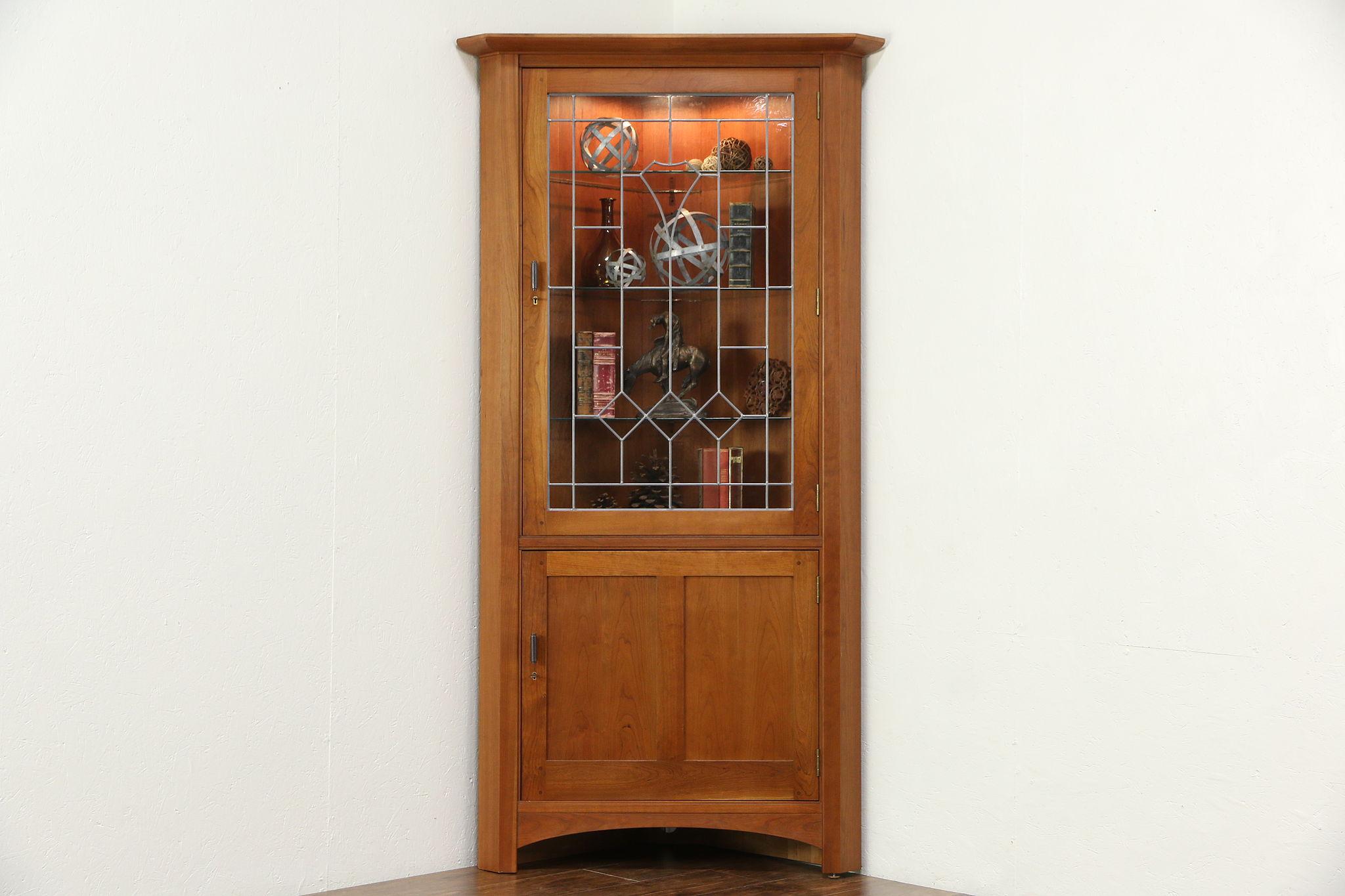 Sold Cherry Corner Cupboard Leaded Glass Door Signed Stickley