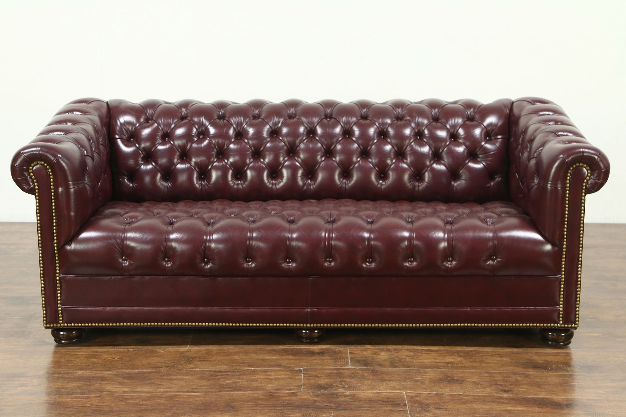 Sold Chesterfield Tufted Leather Vintage Sofa Signed Hancock
