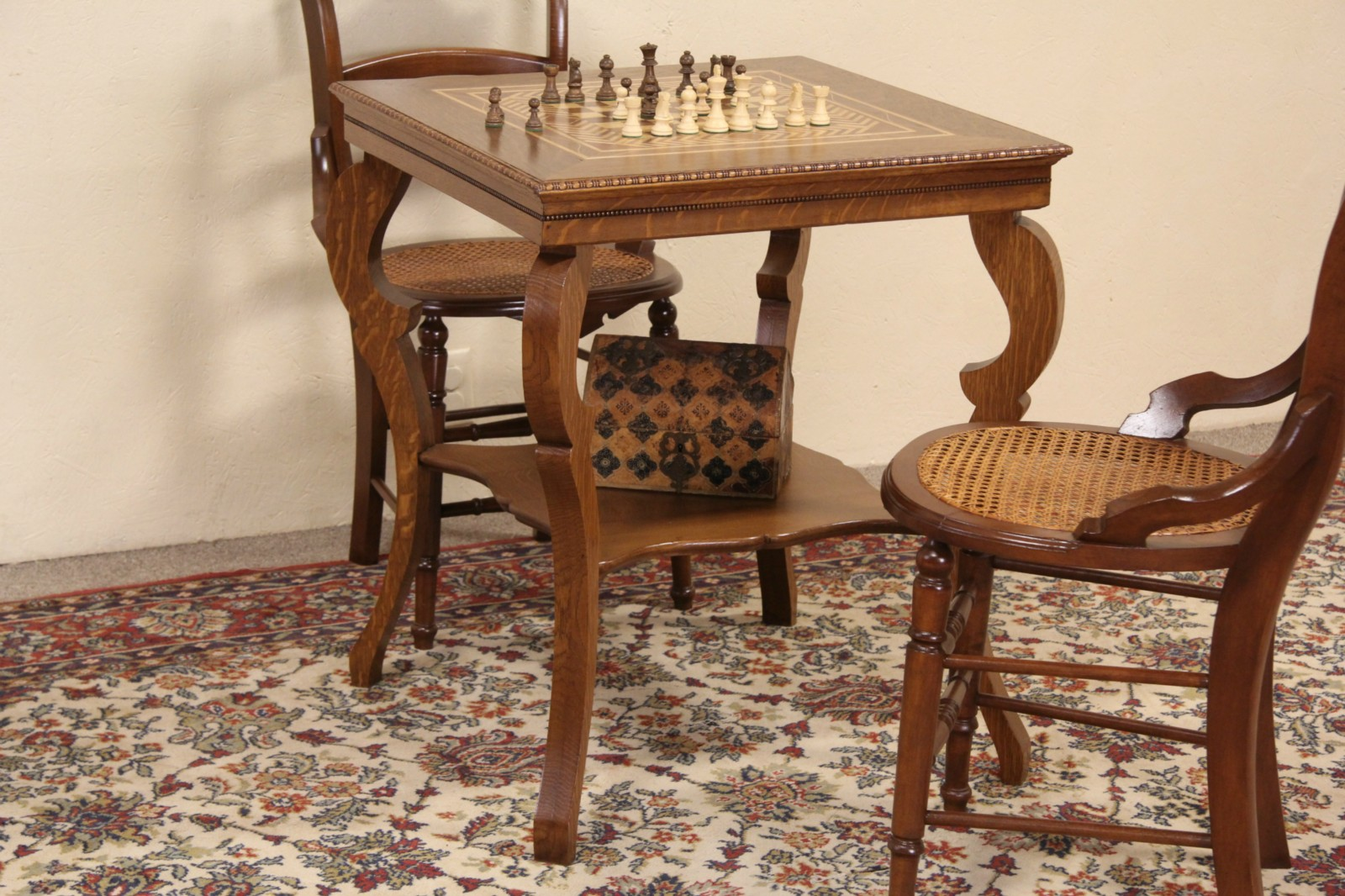 Antique game table chairs - Oak 1900 Antique Chess Or Checker Board Inlaid Game Table