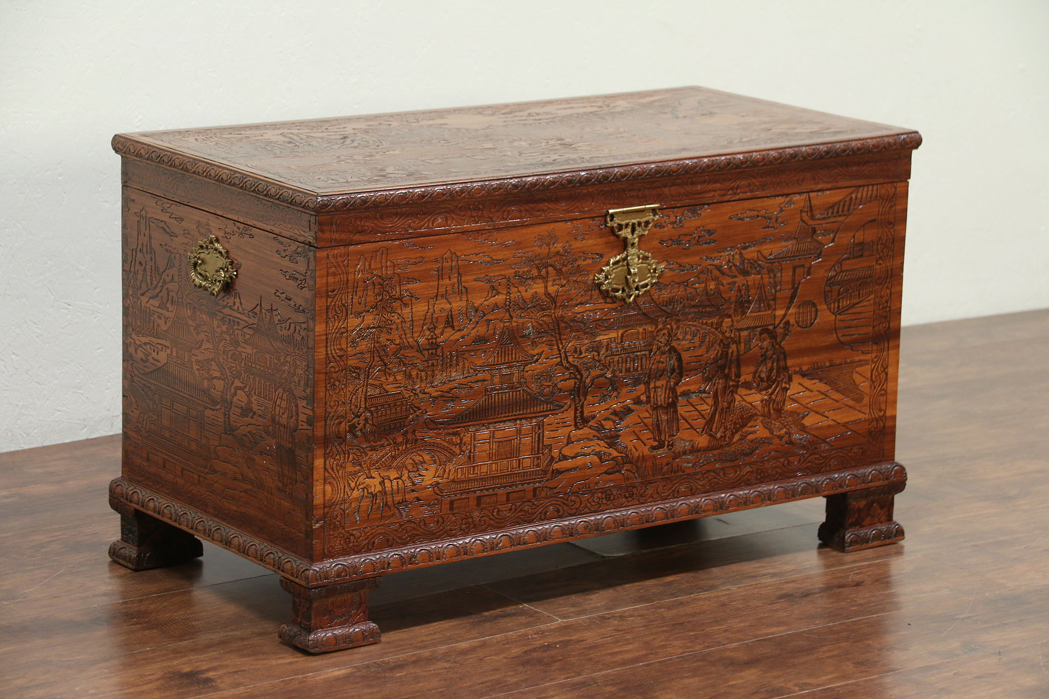 Chinese Vintage Carved Trunk, Blanket Or Dowry Chest Or Coffee
