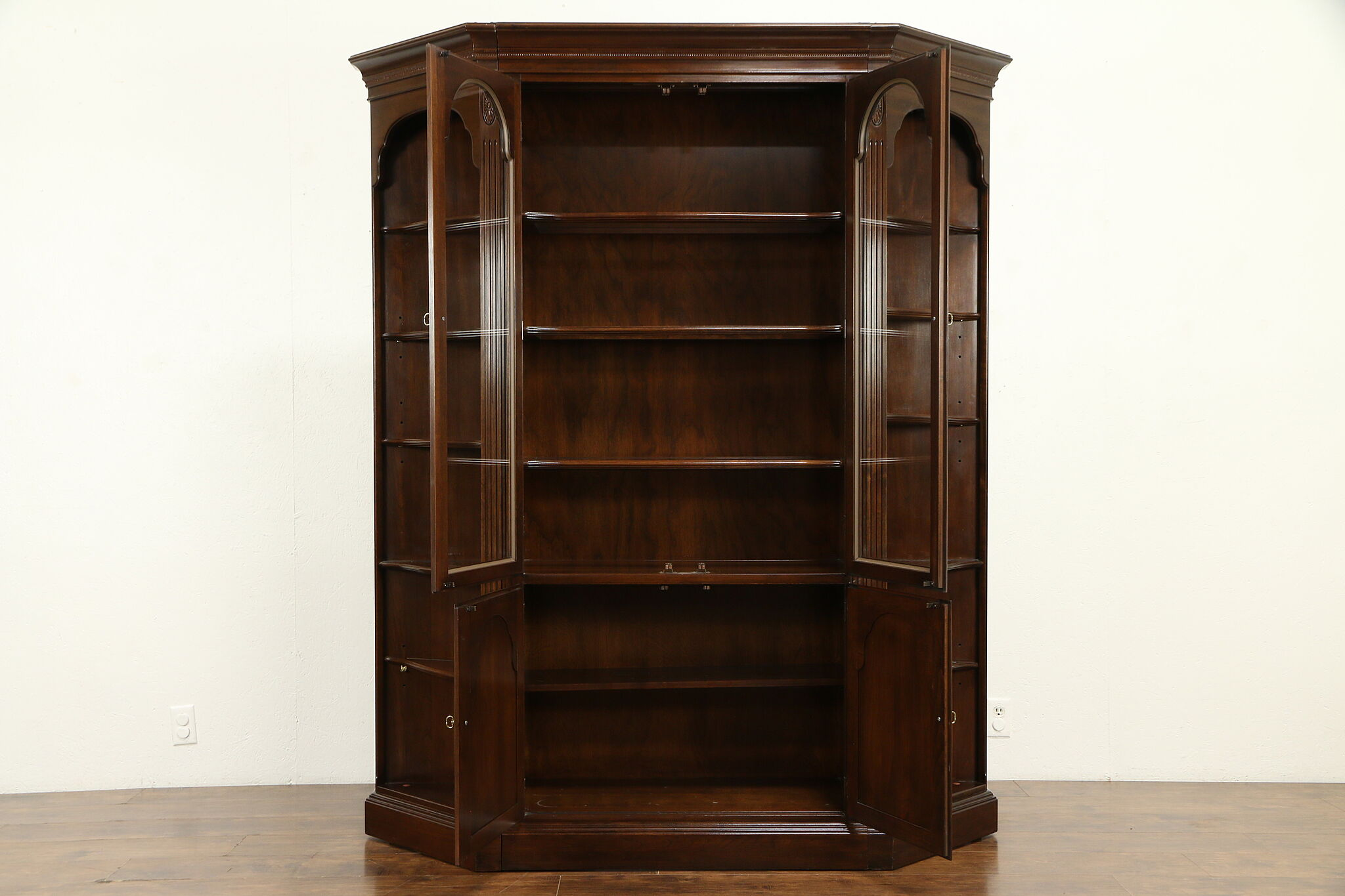 Cherry Vintage Three Section Bookcase China Cabinet Ethan Allen 31826