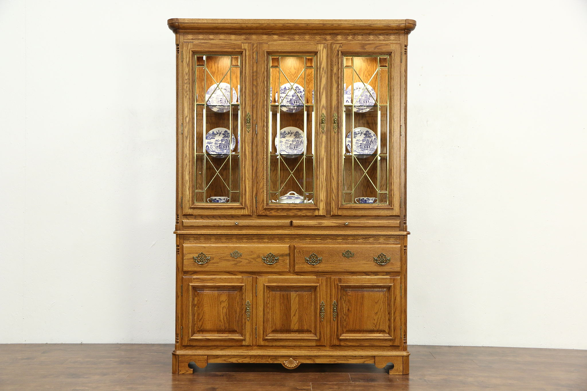 Oak Vintage China Cabinet, Leaded Beveled Glass, Richardson Bros Of WI ...