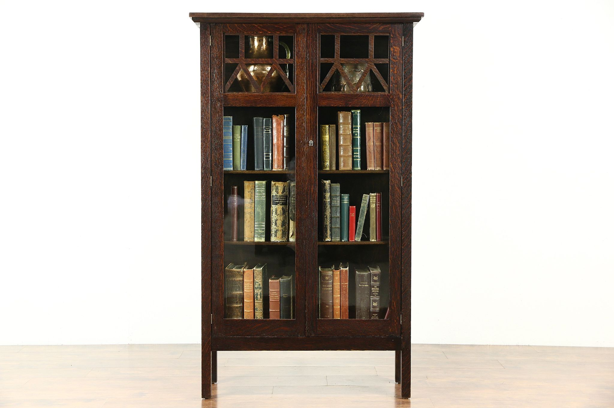 Arts U0026 Crafts Mission Oak Antique Craftsman China Or Display Cabinet, Wavy  Glass
