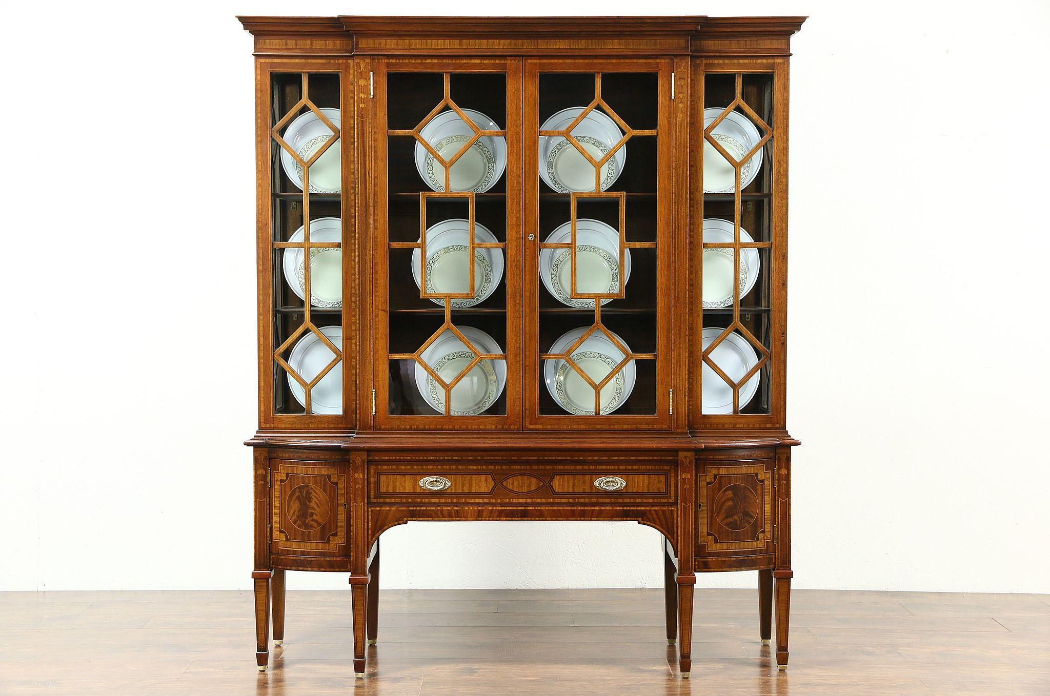 Berkey U0026 Gay Signed 1920u0027s Vintage China Curio Display Cabinet, Inlaid  Marquetry ...