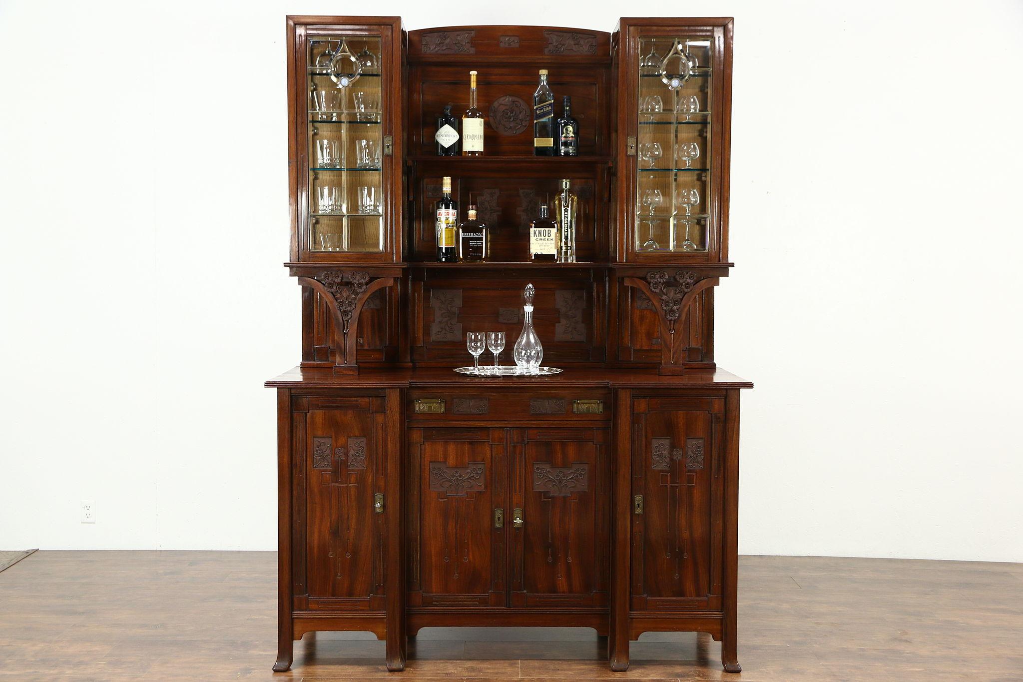 Superior Italian Antique 1925 Back Bar Or Sideboard U0026 China Cabinet, Leaded Glass ...