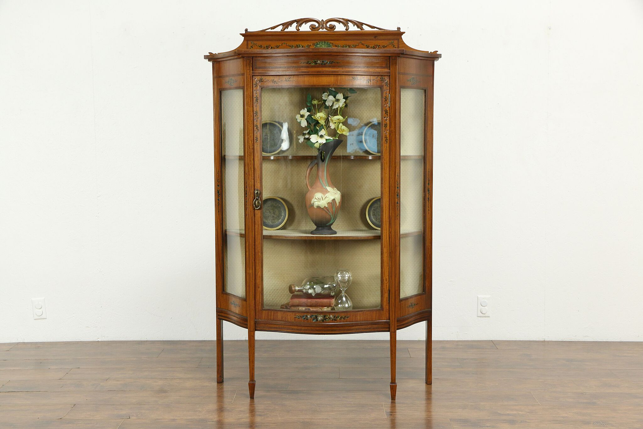 English Antique Edwardian Satinwood Curved Glass Curio Or China Cabinet 34757 Harp Gallery Antiques Furniture