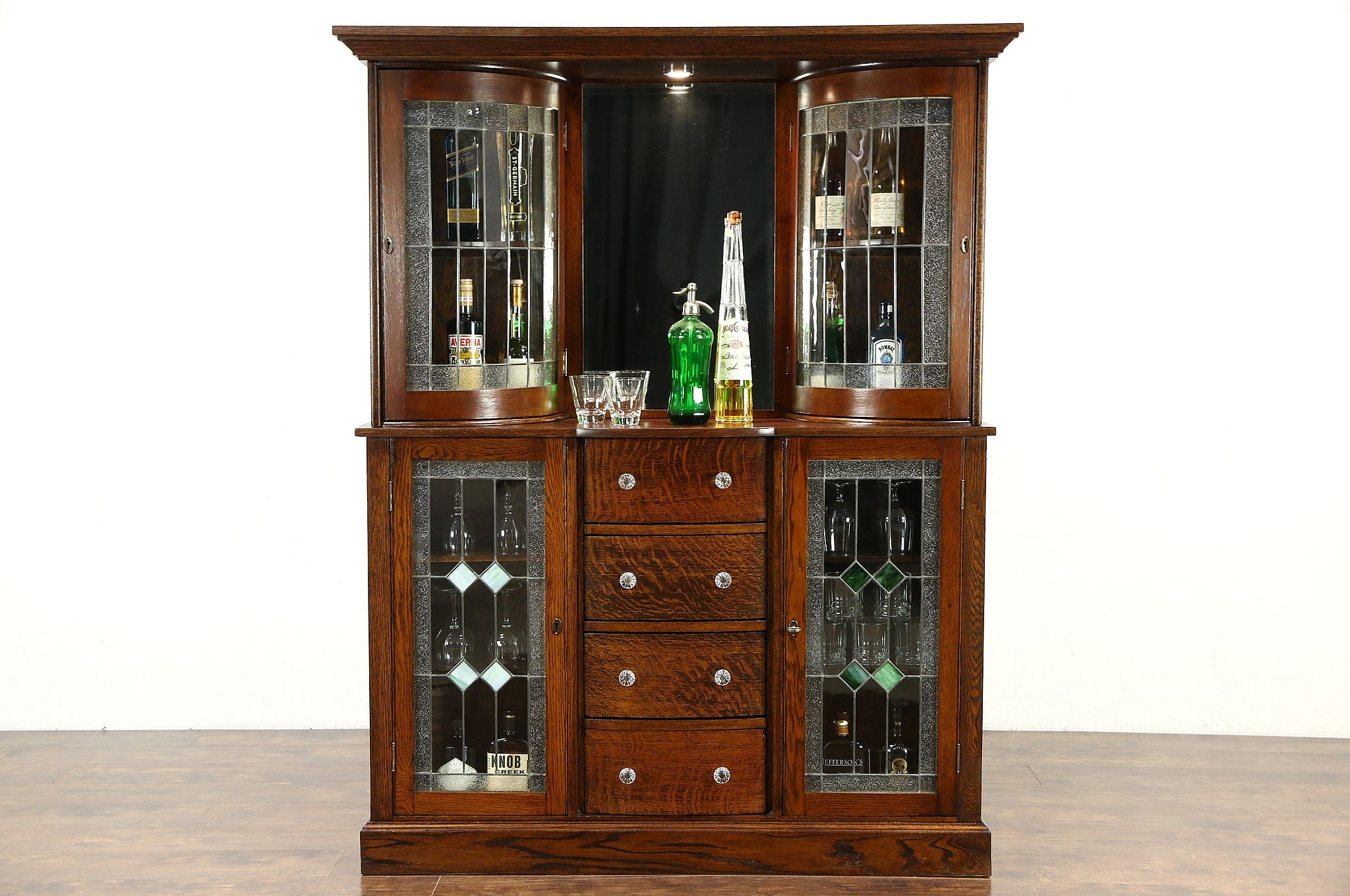 Oak 1900 Antique Back Bar Or China Cabinet, Leaded Stained Glass, Beveled  Mirror