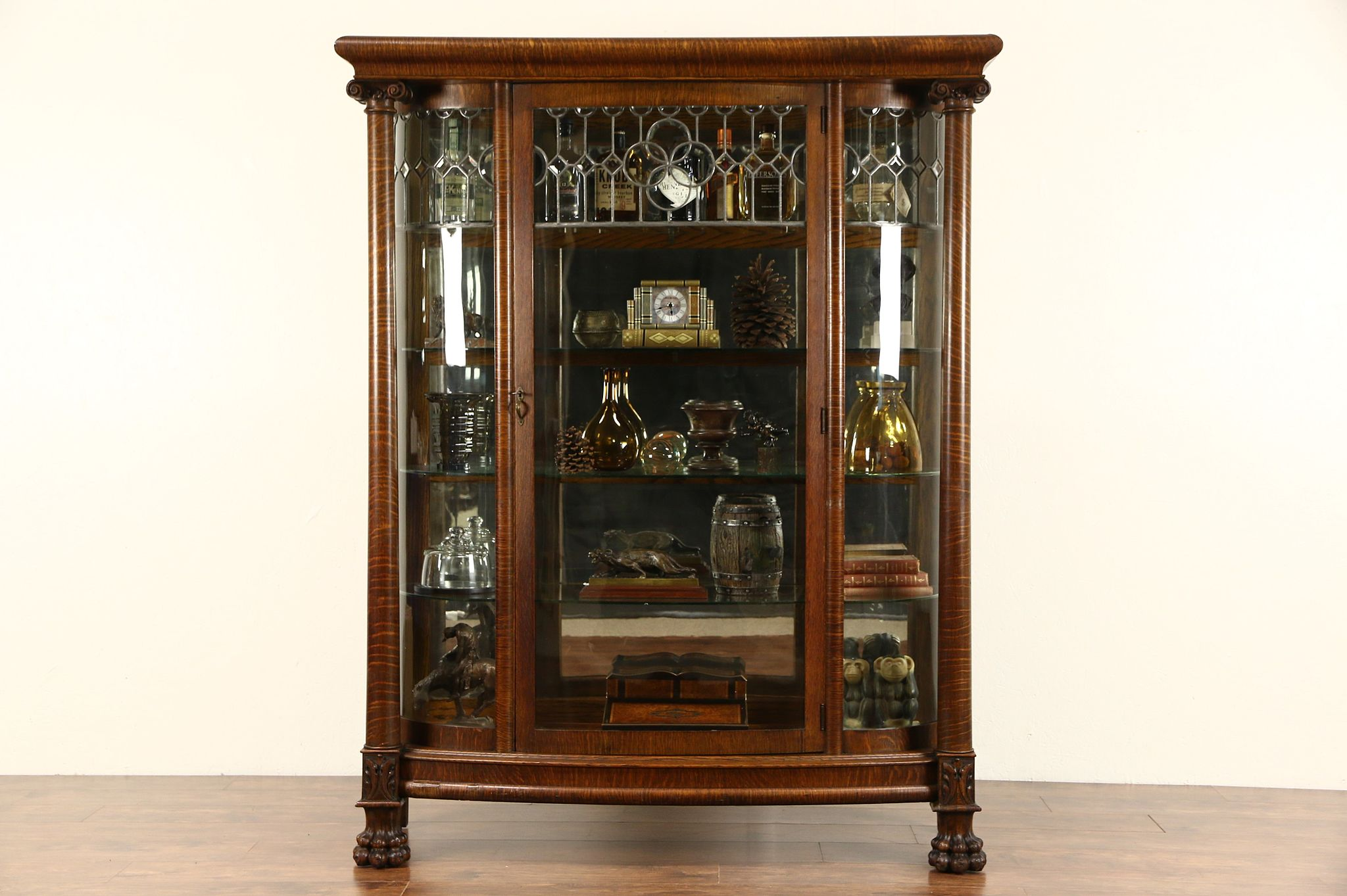 Attirant Curved Glass 1900 Antique Oak China Cabinet, Curio Display, Leaded Beveled  Glass