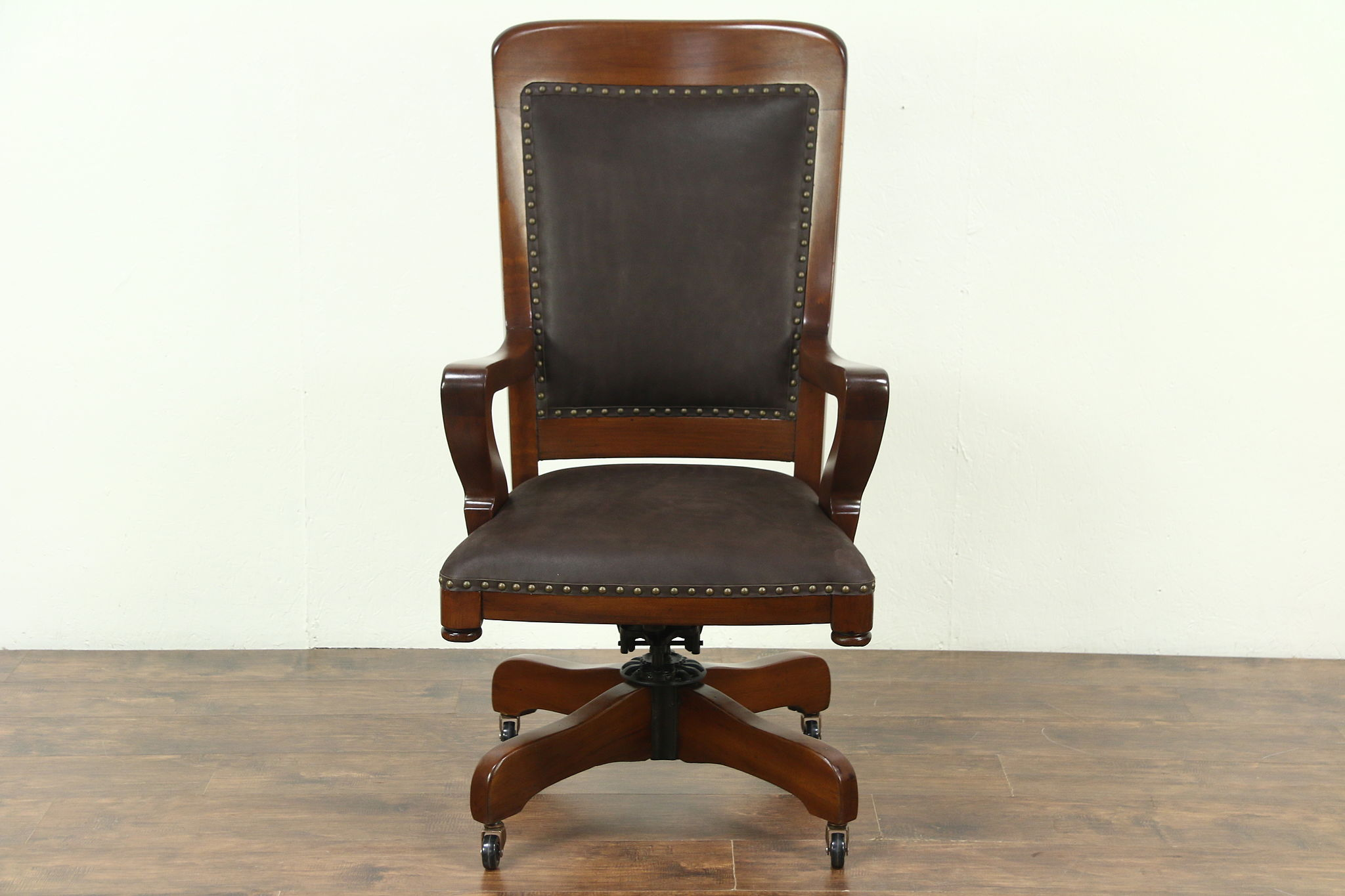 Swivel Adjustable 1915 Antique Desk Chair New Leather Upholstery