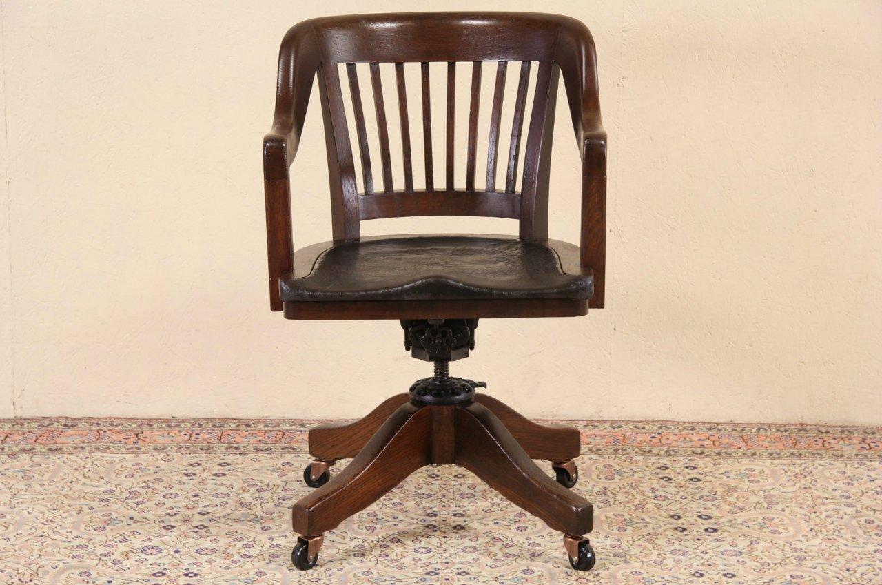 Milwaukee 1914 Pat. Antique Oak & Leather Swivel Adjustable Desk Chair - SOLD - Milwaukee 1914 Pat. Antique Oak & Leather Swivel Adjustable