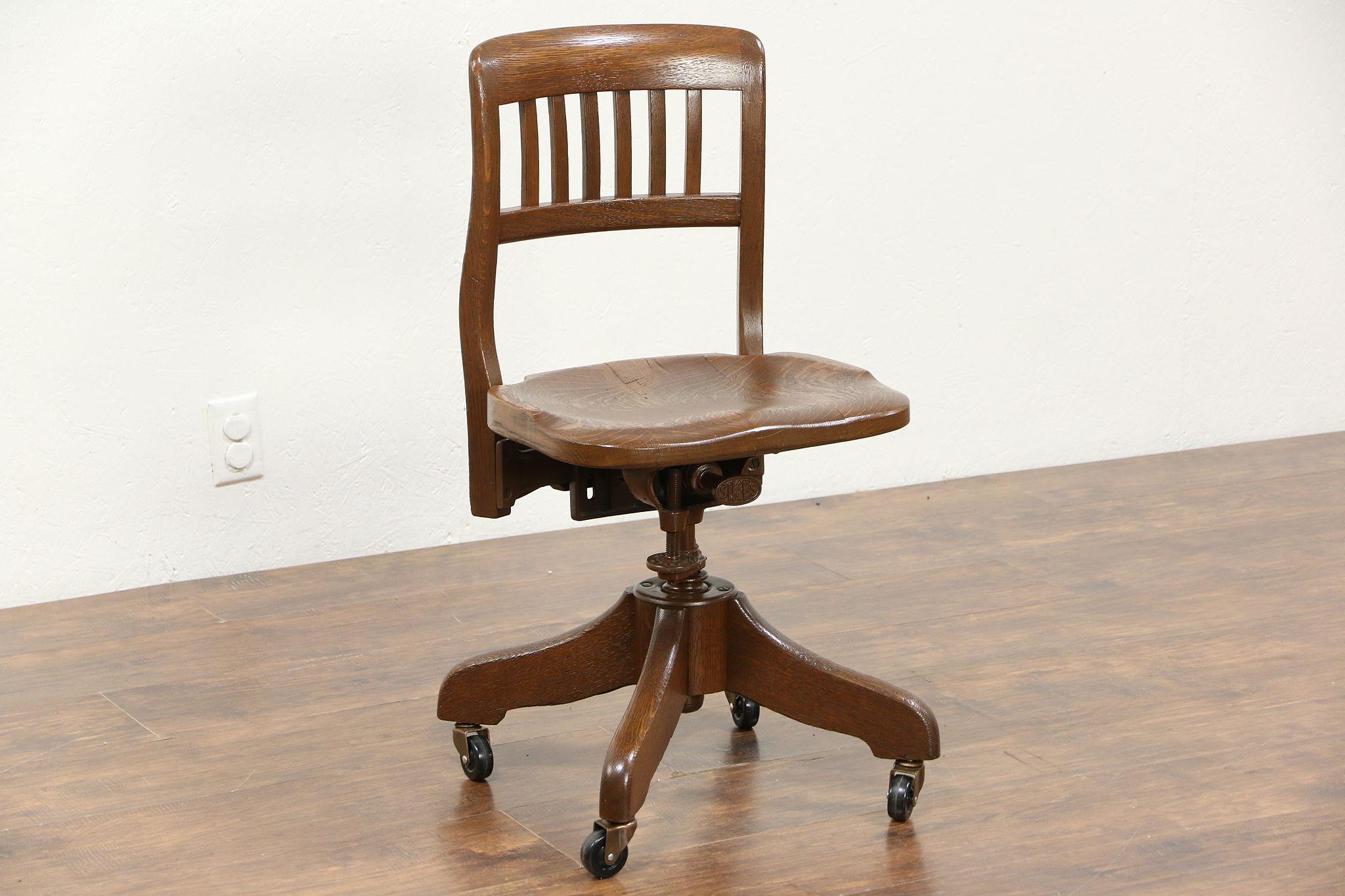 Oak 1925 Antique Swivel Adjustable Desk Chair Signed Revells