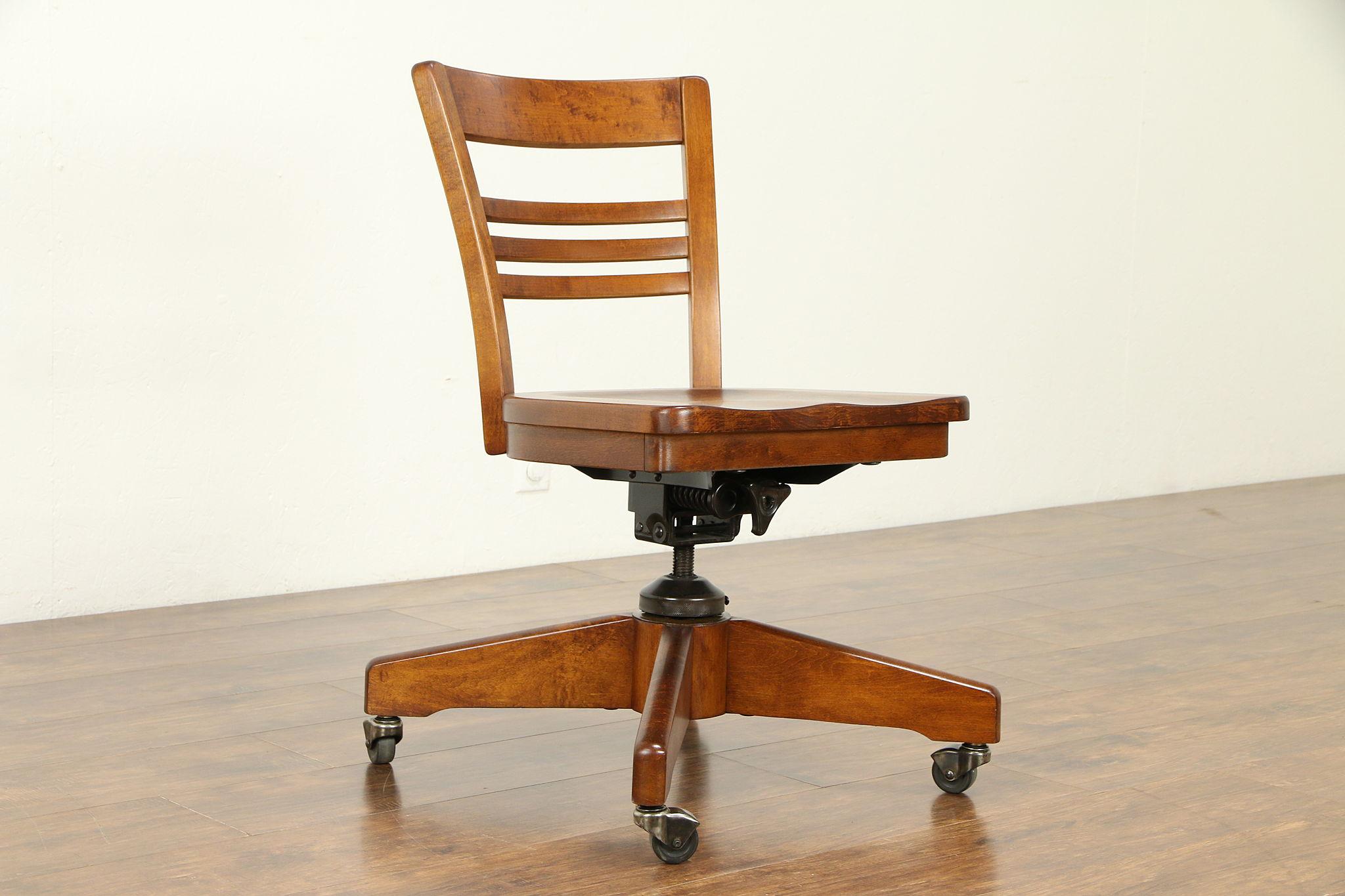 Marvelous Midcentury Modern 1940S Vintage Swivel Adjustable Desk Chair Signed 32199 Unemploymentrelief Wooden Chair Designs For Living Room Unemploymentrelieforg