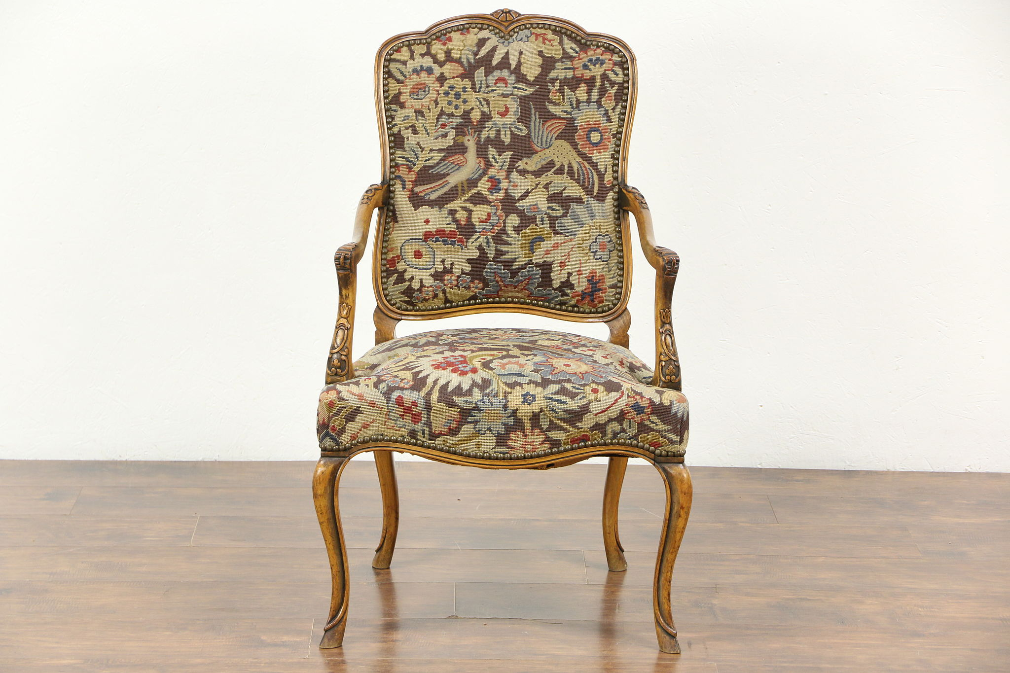 Captivating Carved Antique Scandinavian Chair, Needlepoint U0026 Petit Point Upholstery