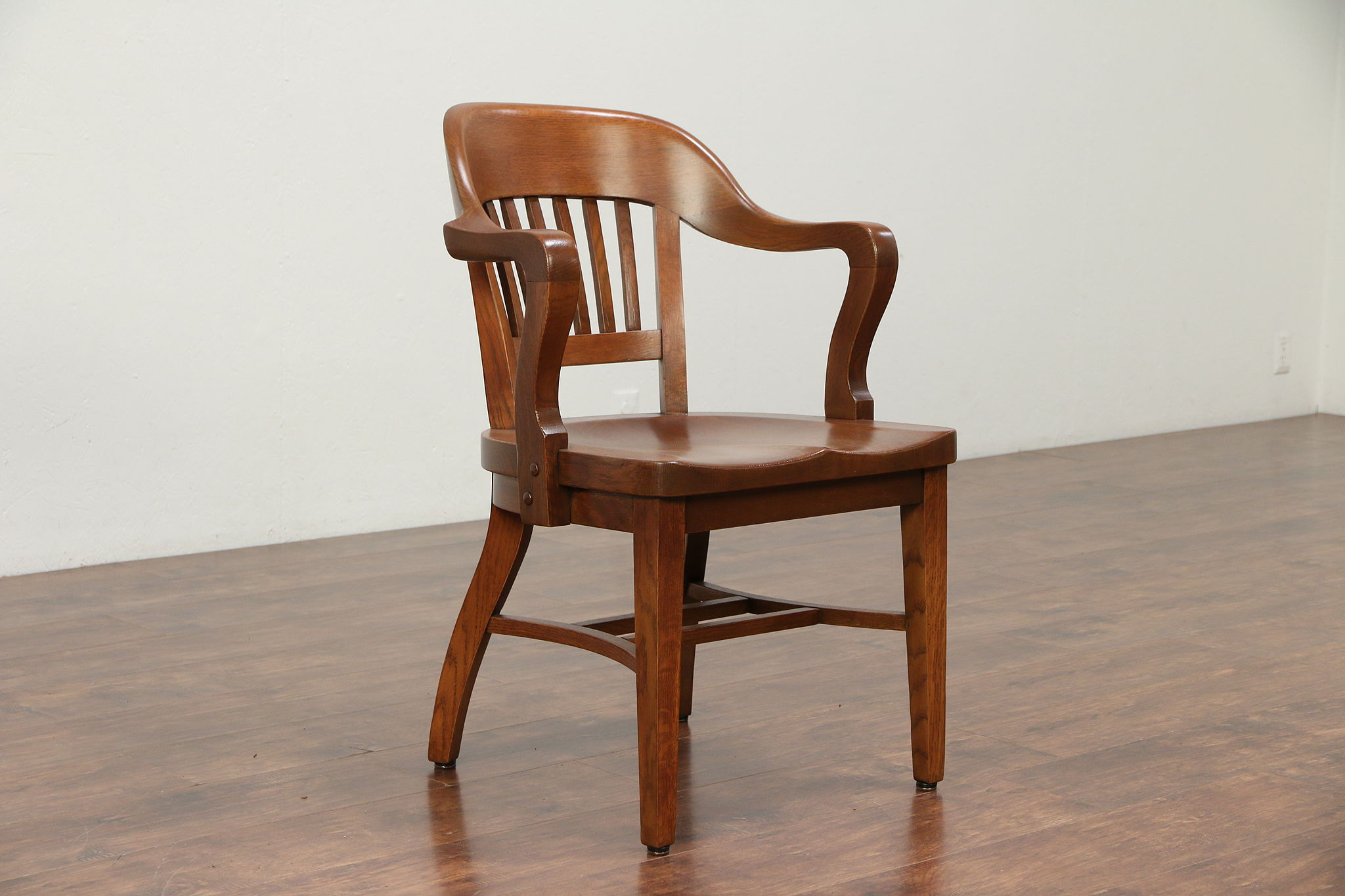 Sold Oak 1910 Antique Banker Library Desk Or Office Chair With Arms 29960 Harp Gallery Antiques Furniture