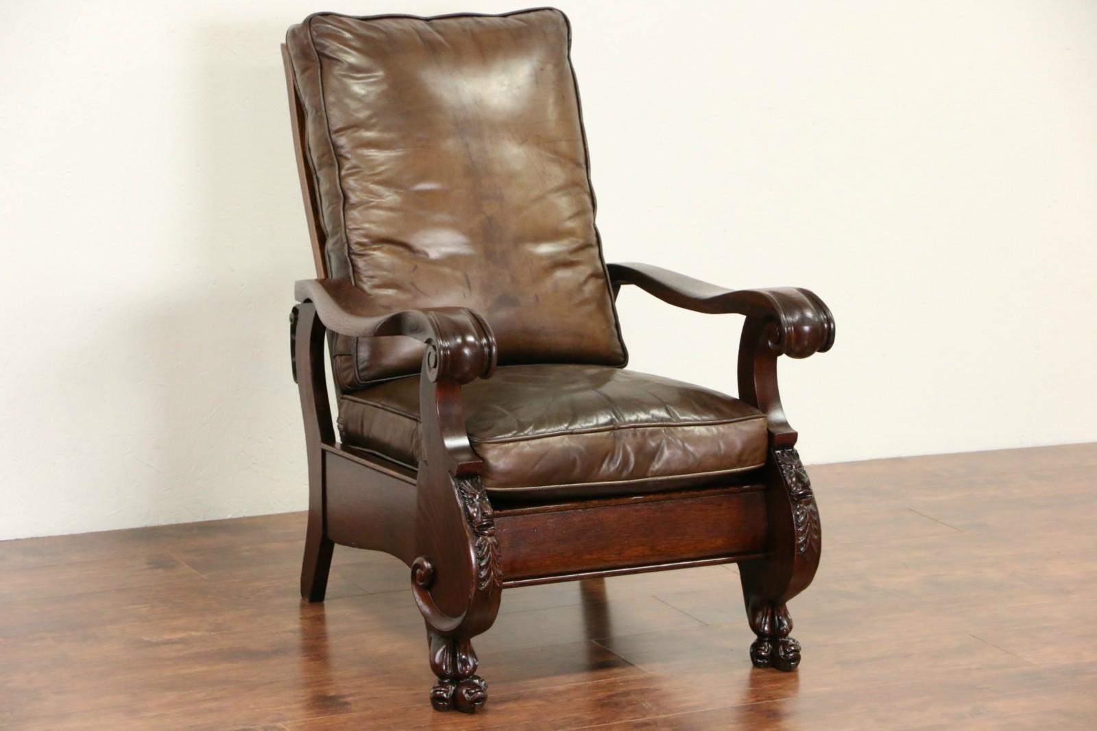 Sold Oak 1900 Antique Morris Recliner Chair Leather