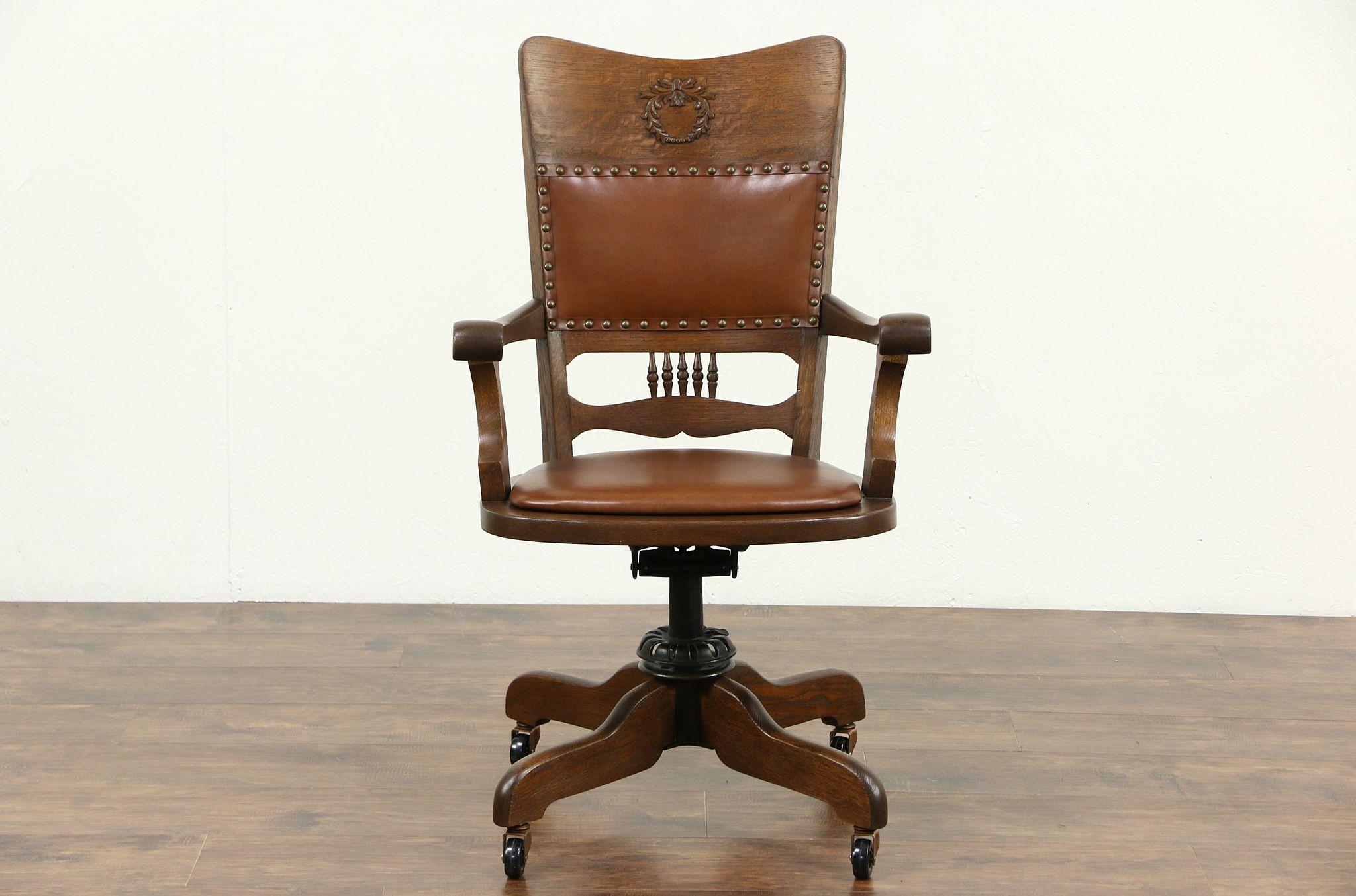 Super Oak Leather Swivel Adjustable Antique Desk Chair Signed Crocker Sheboygan Pdpeps Interior Chair Design Pdpepsorg