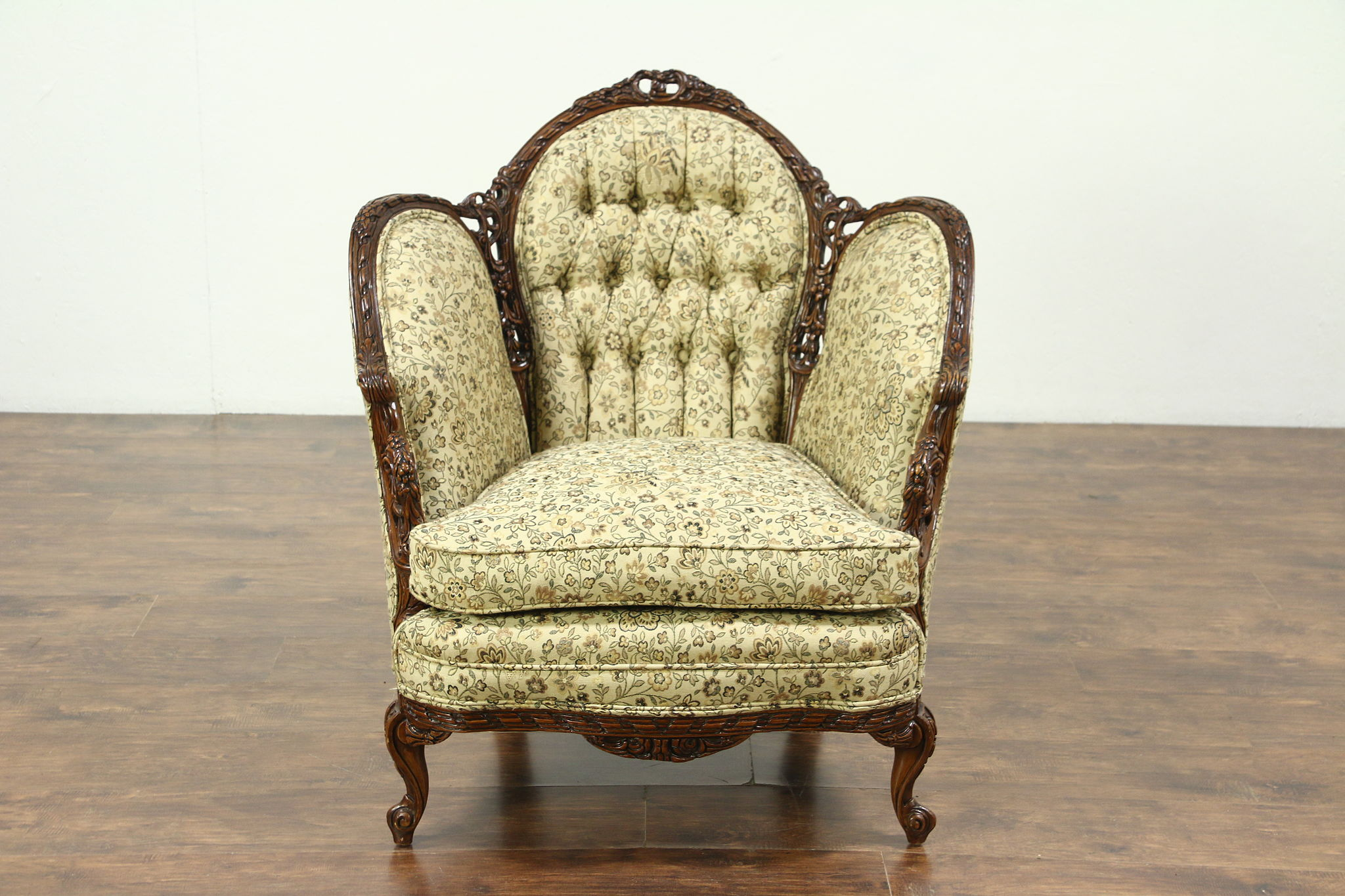 French Style Carved 1930 S Vintage Chair New Tufted Upholstery