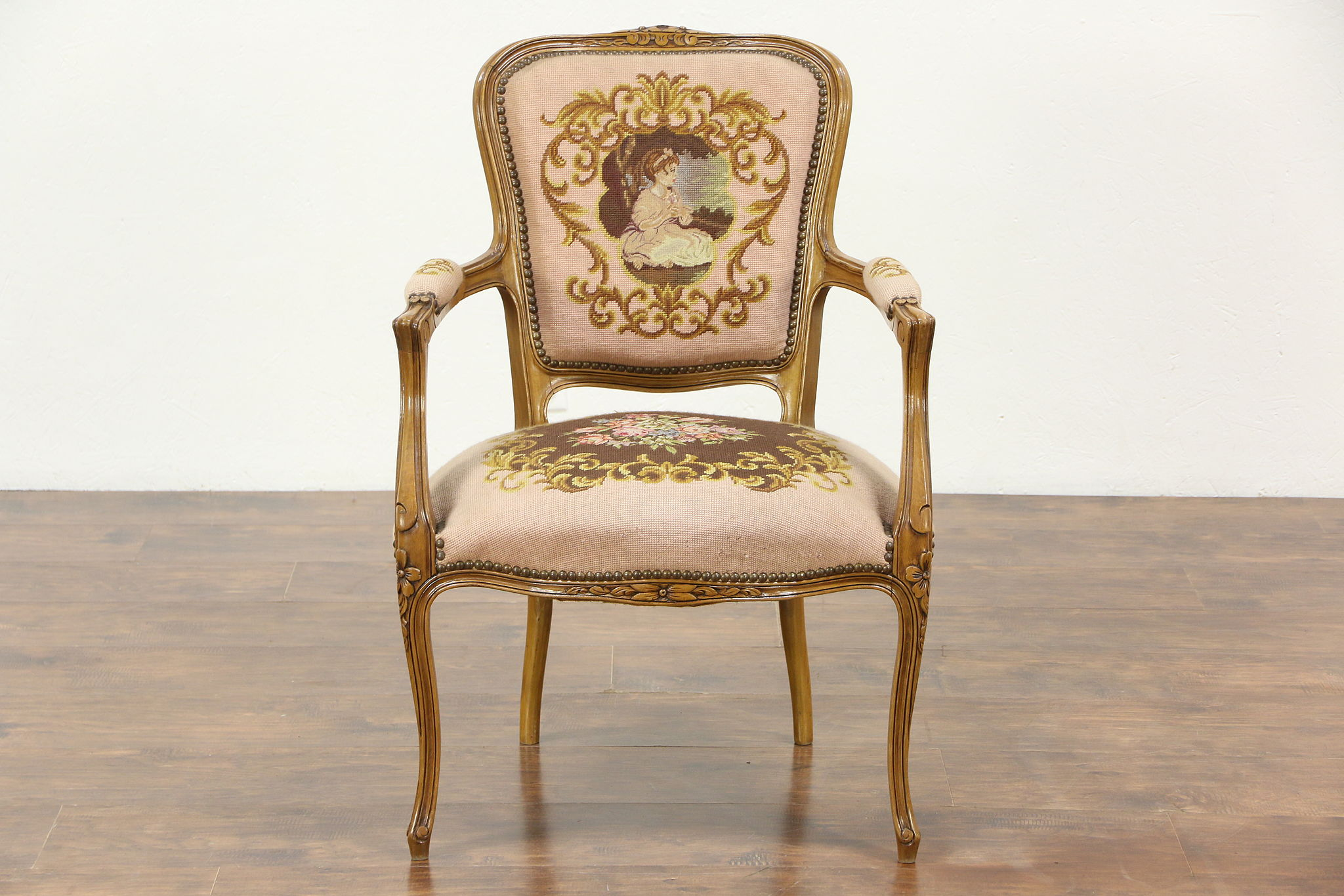 French Carved Vintage Chair Needlepoint & Petit Point Upholstery
