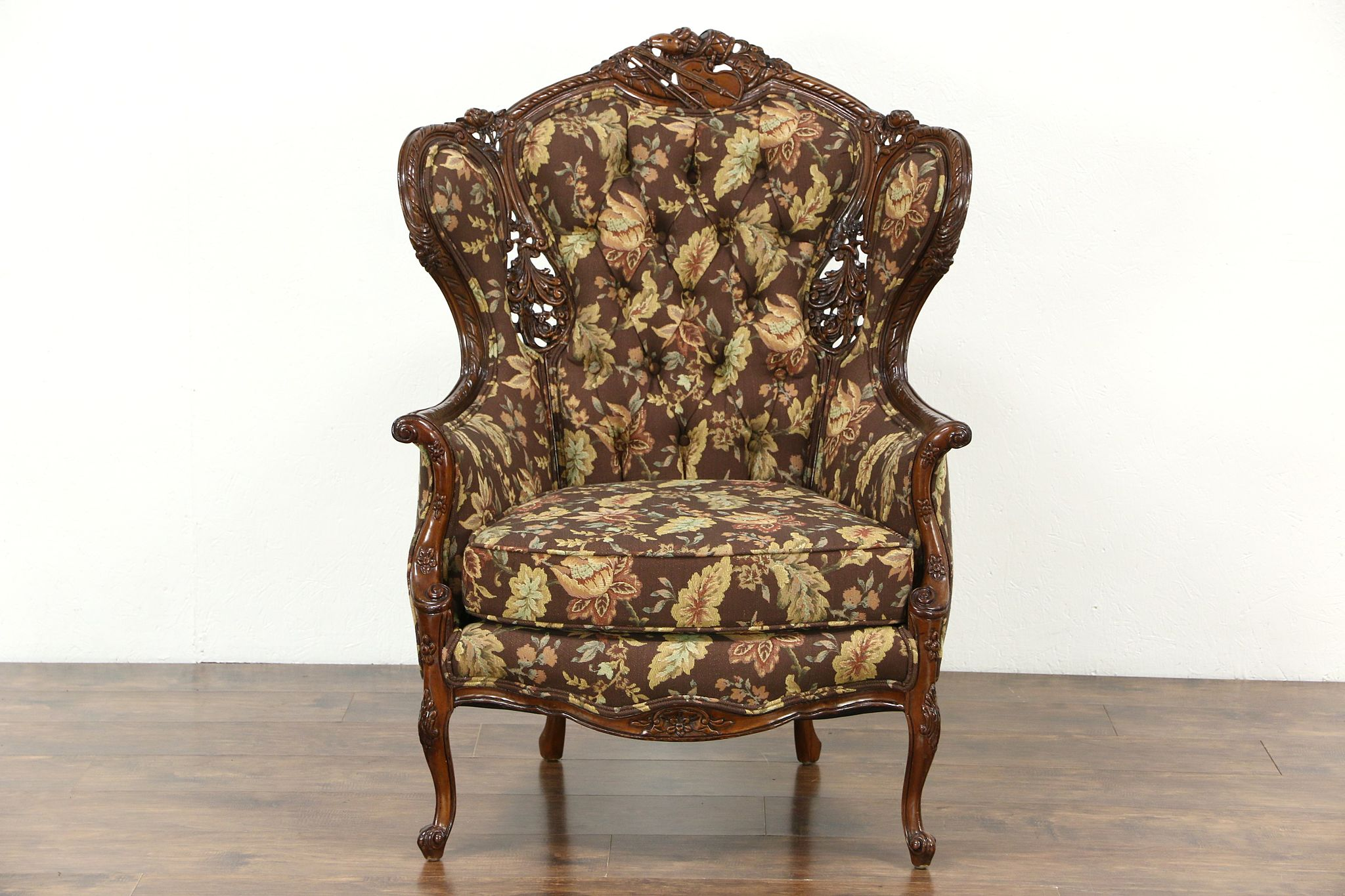 Antique wing chair - Music Room 1940 S Vintage Wing Chair Carved Violin Drum New Upholstery