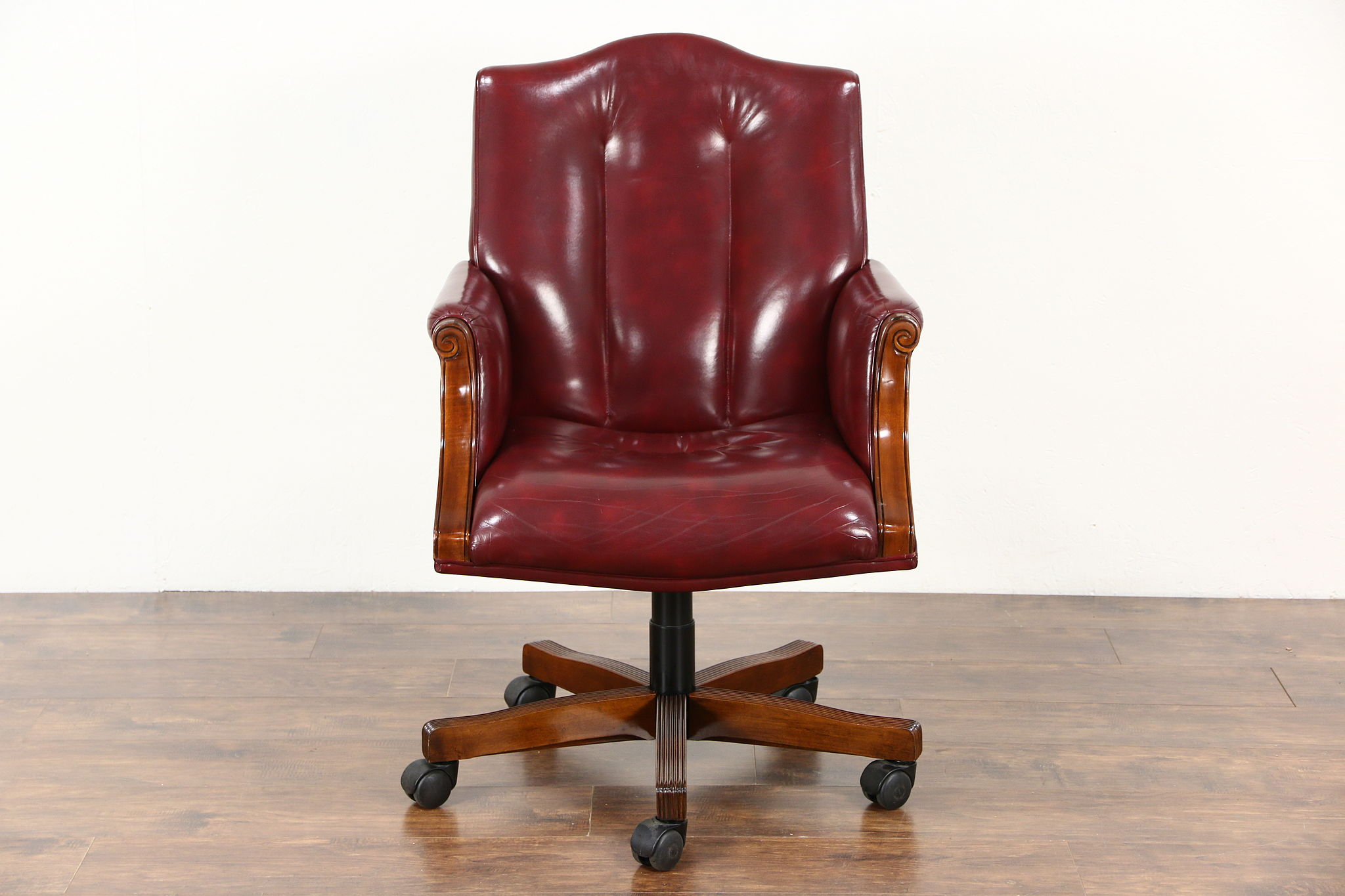 Desk Swivel Chair Adjule Vintage Mahogany Leather Signed Councill