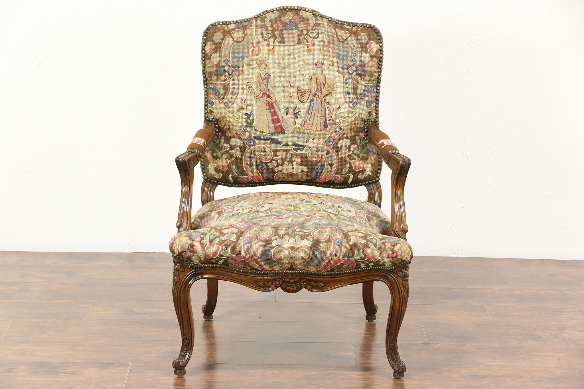 Antique Hand Carved French Chair, Needlepoint U0026 Petit Point Ladies U0026 Animals