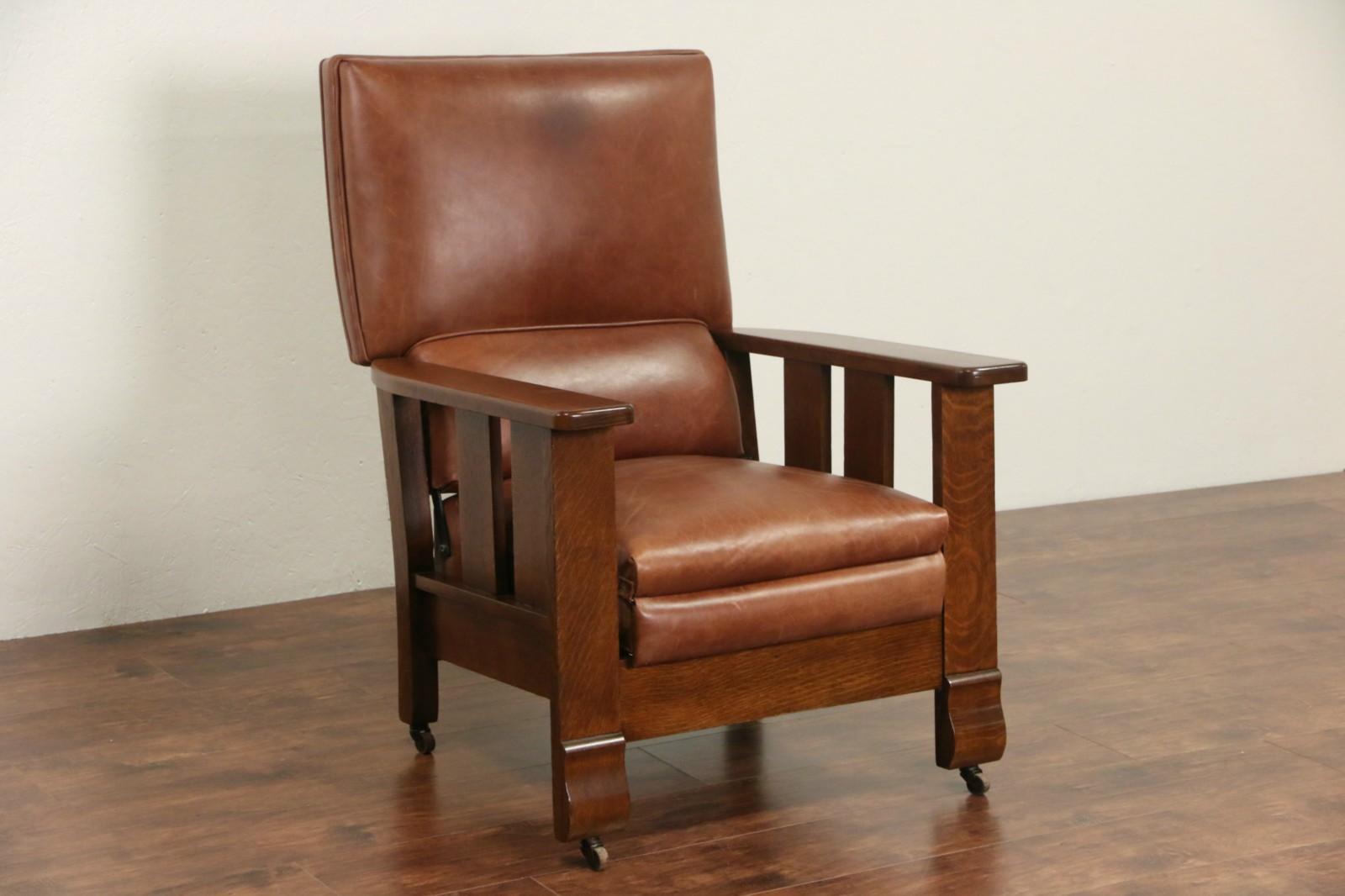 Antique mission chair - Arts Crafts Mission Oak 1920 Antique Leather Morris Recliner Chair