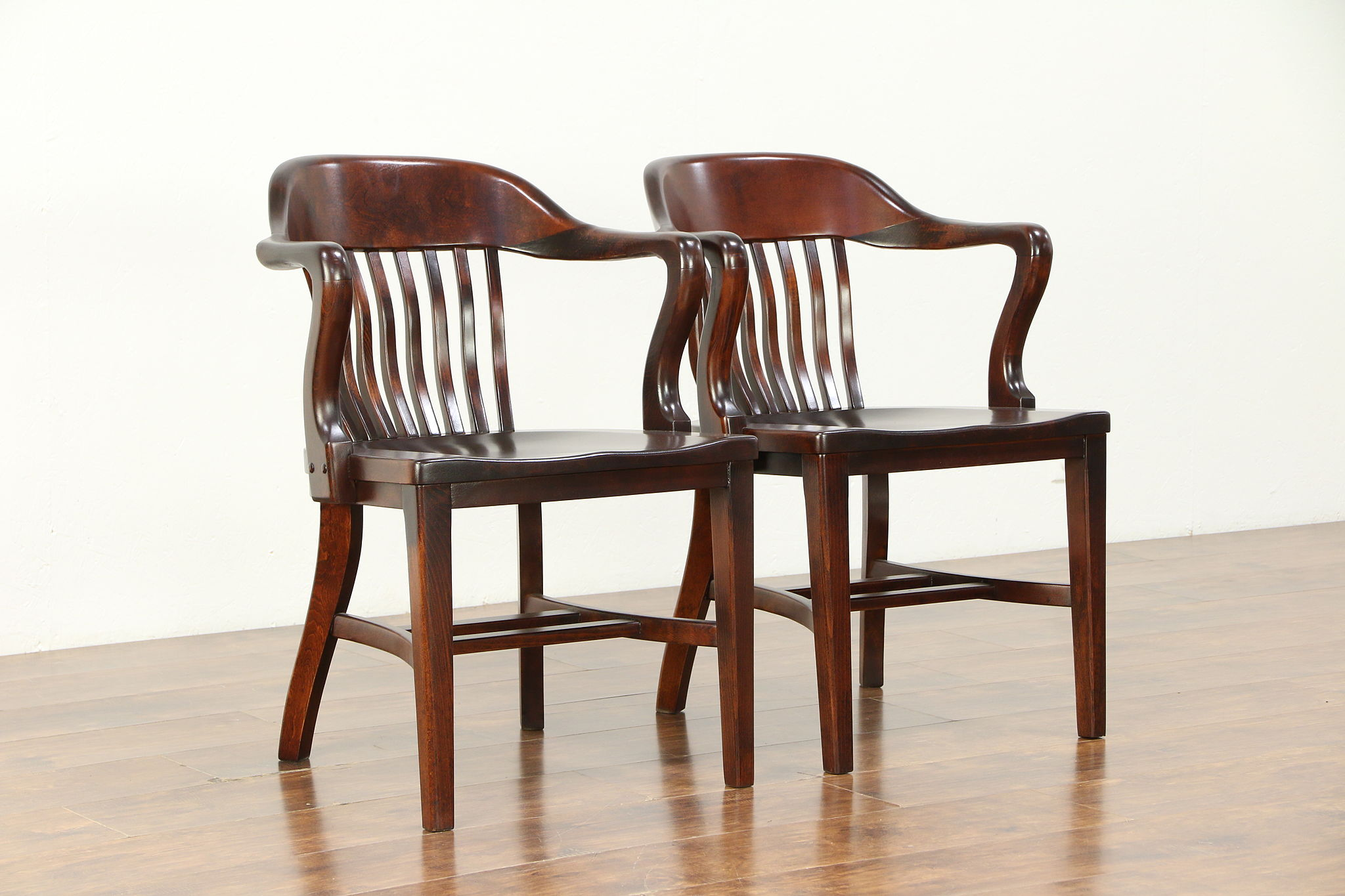 Pair mahogany finish antique banker desk office or library chairs a 30472 harp gallery