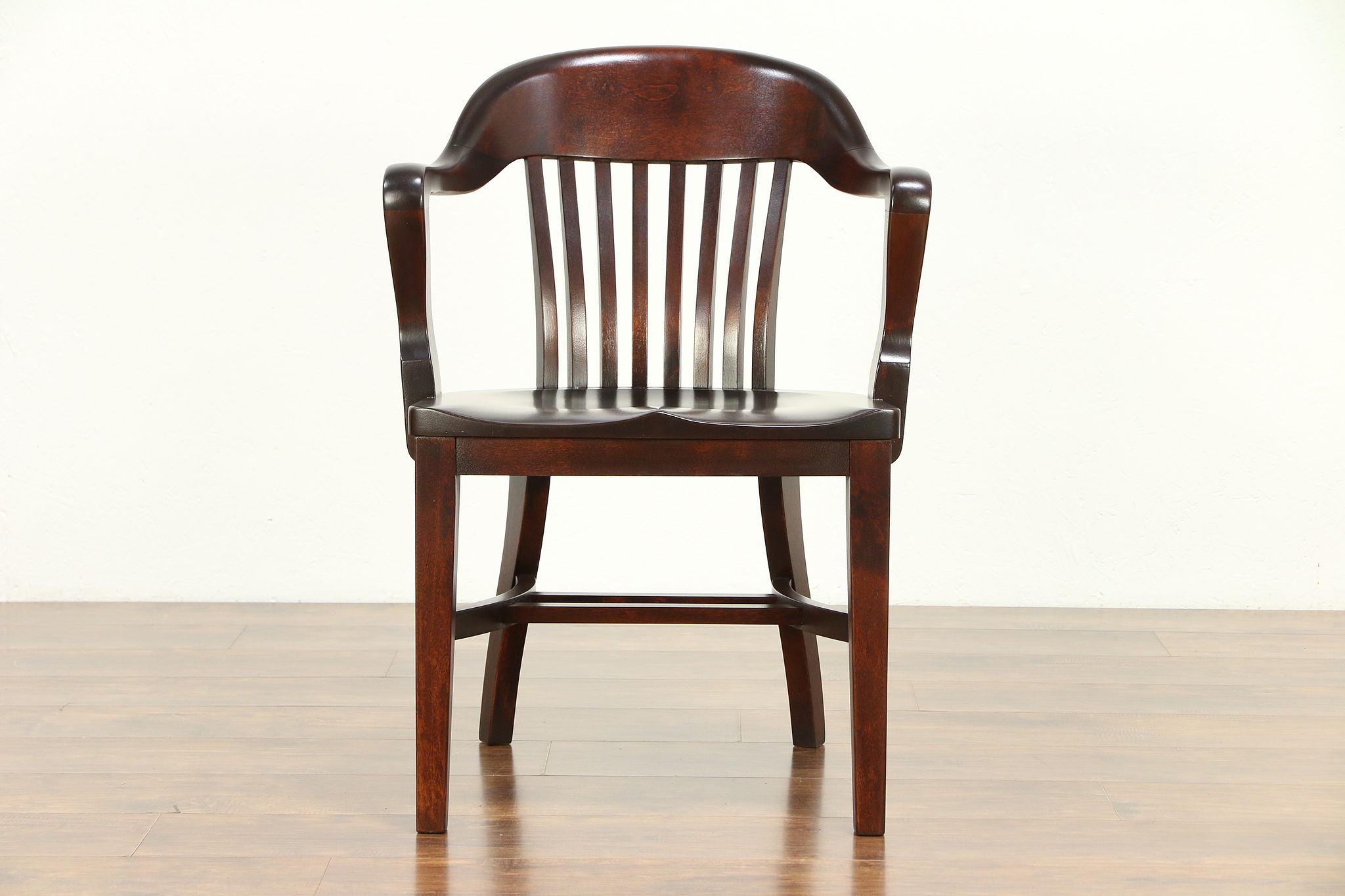 Mahogany finish antique banker desk office or library chair milwaukee 30470 harp gallery
