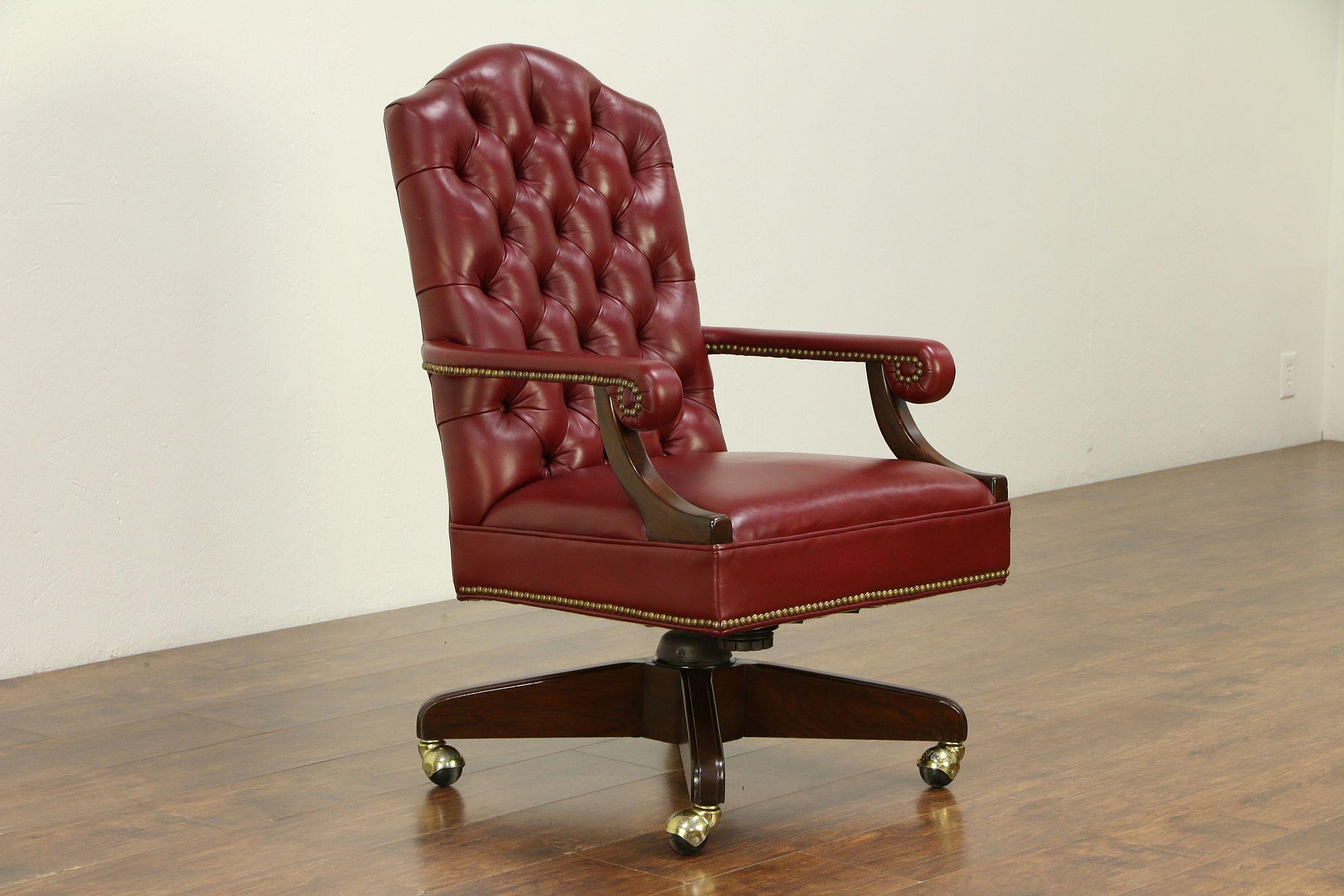 Surprising Harden Cherry Traditional Swivel Adjustable Desk Chair Faux Leather 30536 Short Links Chair Design For Home Short Linksinfo