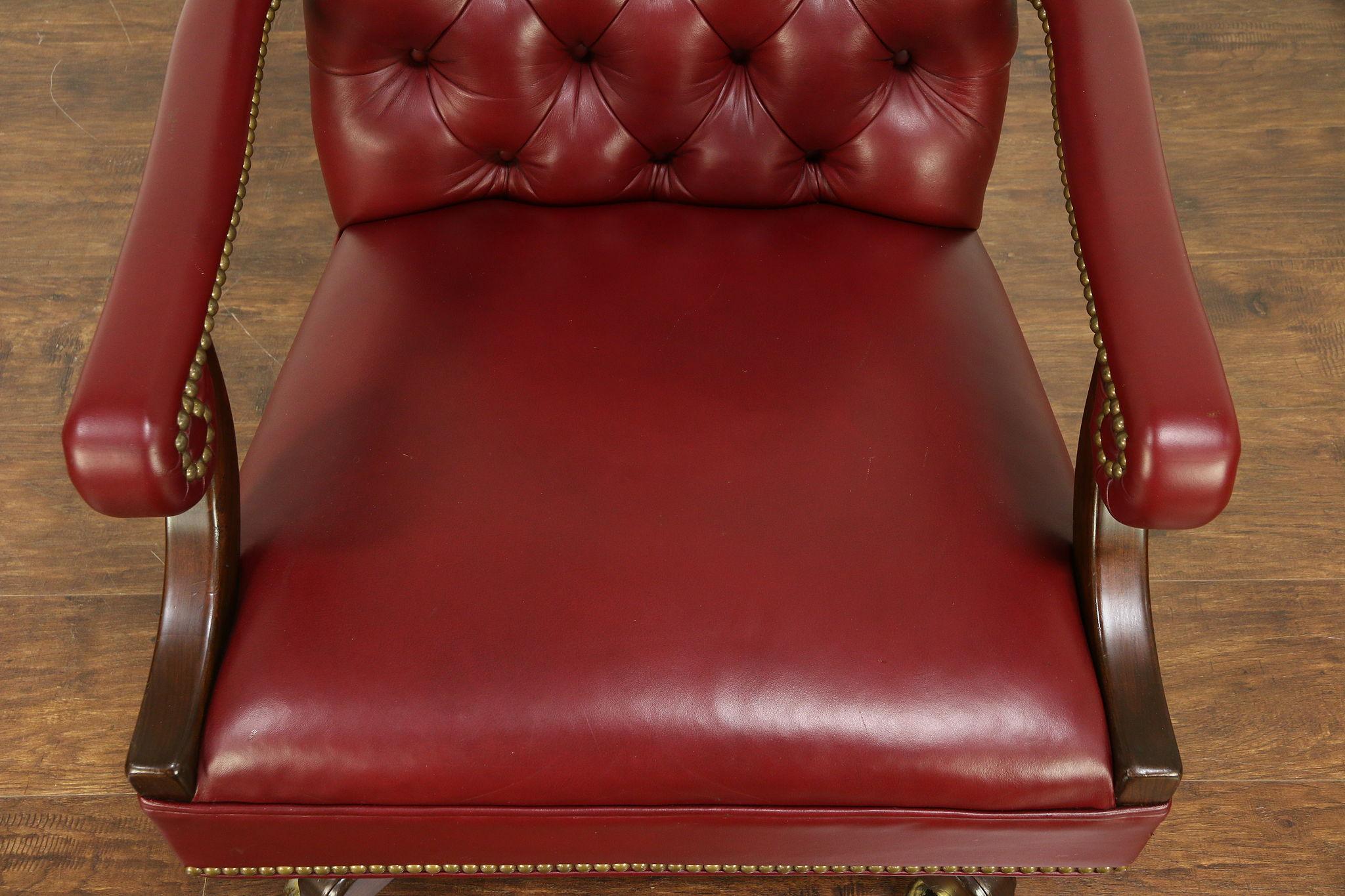 Cool Harden Cherry Traditional Swivel Adjustable Desk Chair Faux Leather 30536 Short Links Chair Design For Home Short Linksinfo