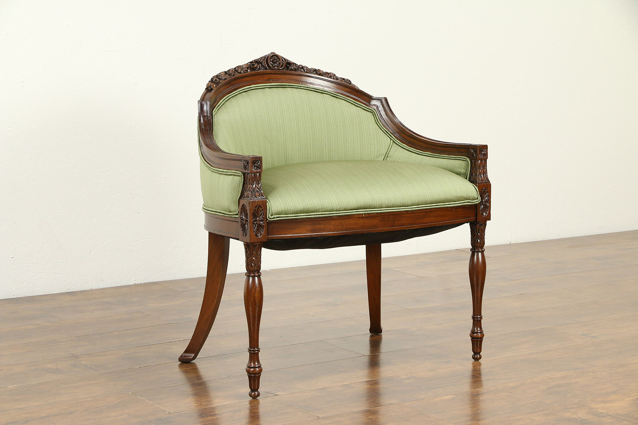 Sold French Design Antique Boudoir Chair Or Vanity Bench New Upholstery 33020 Harp Gallery Antiques Furniture