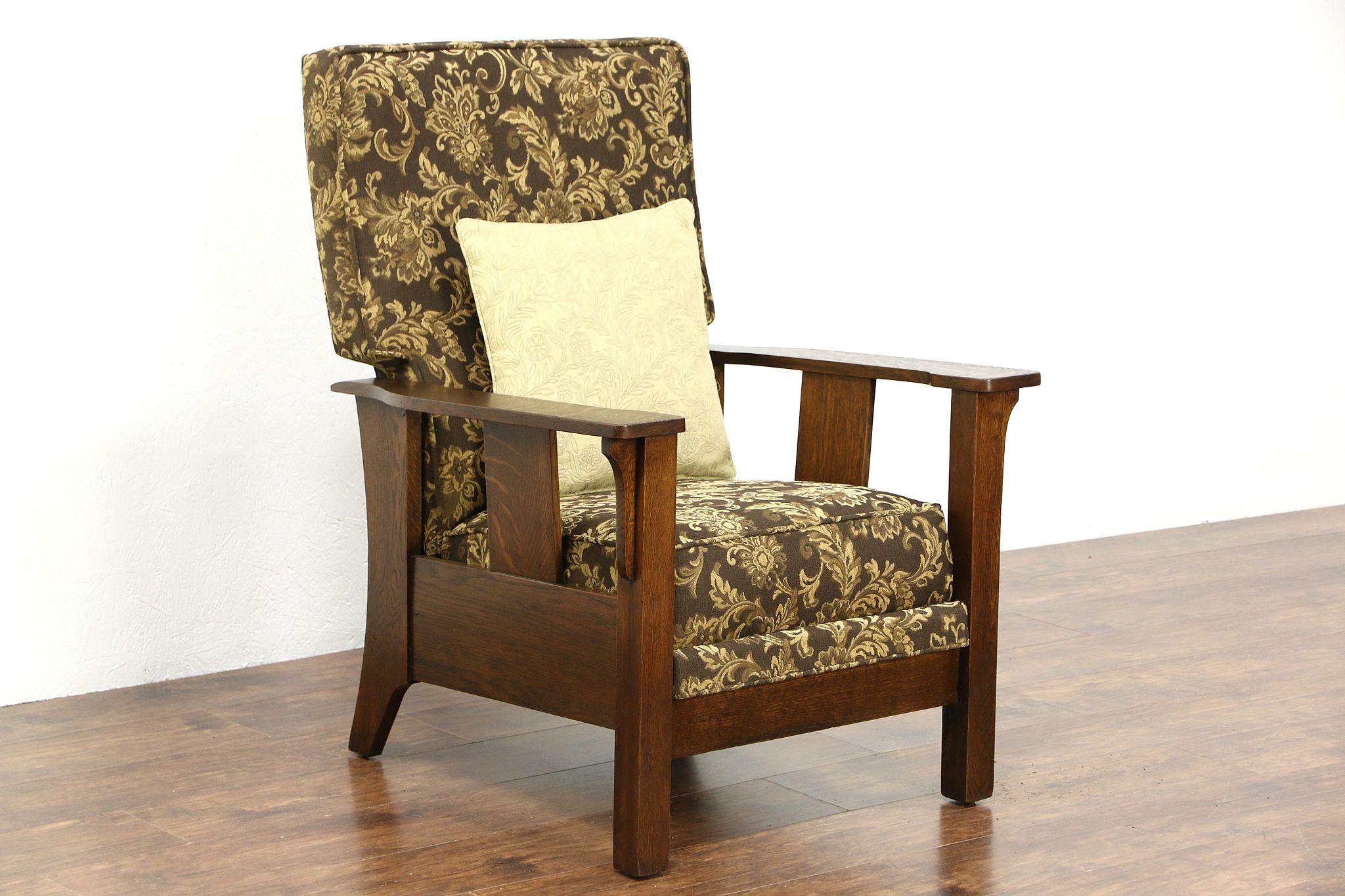 Arts Crafts Mission Oak Craftsman Antique Recliner Chair Footstool