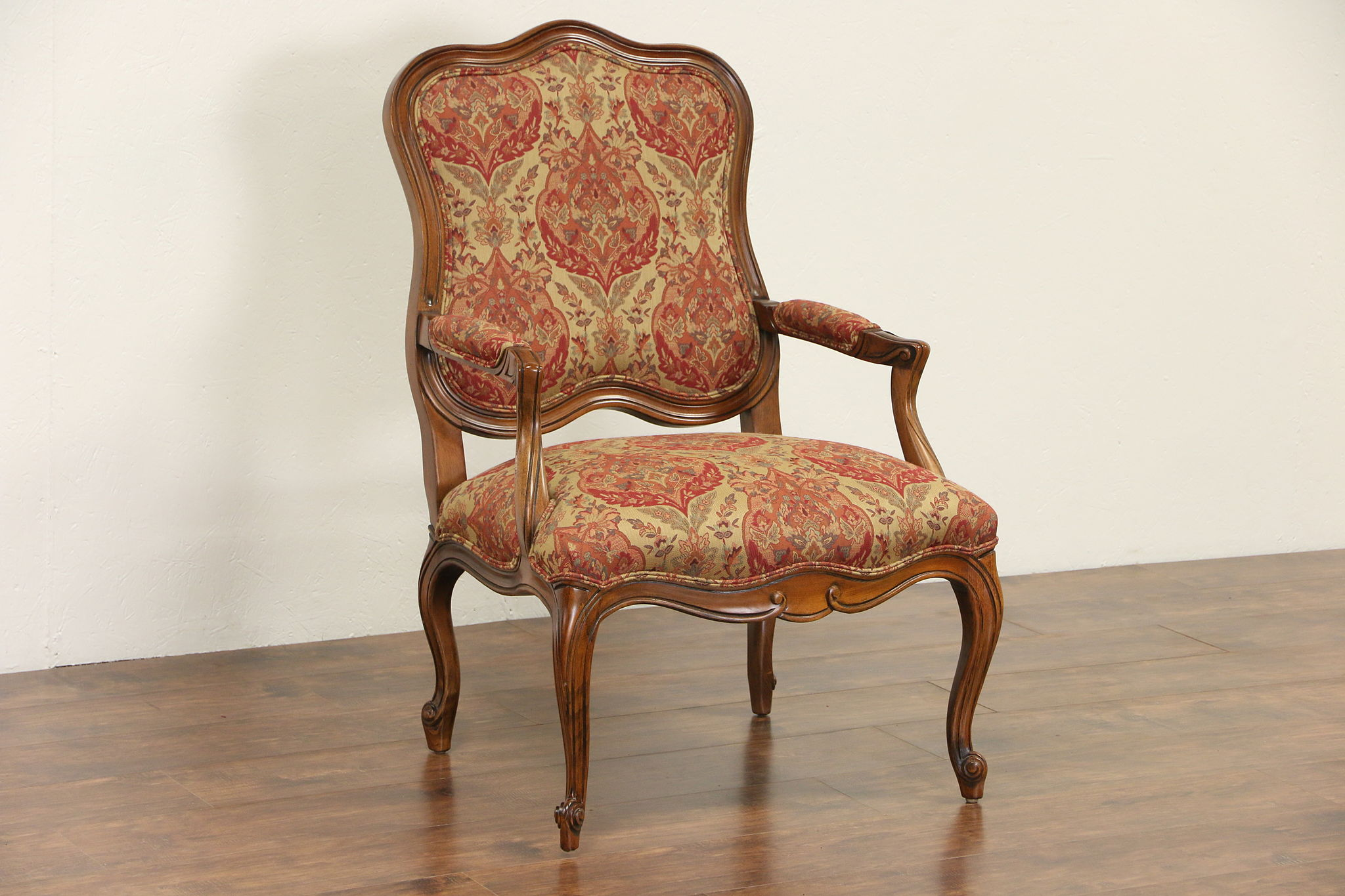 Ethan Allen Carved Country French Chair, Custom Tapestry Upholstery