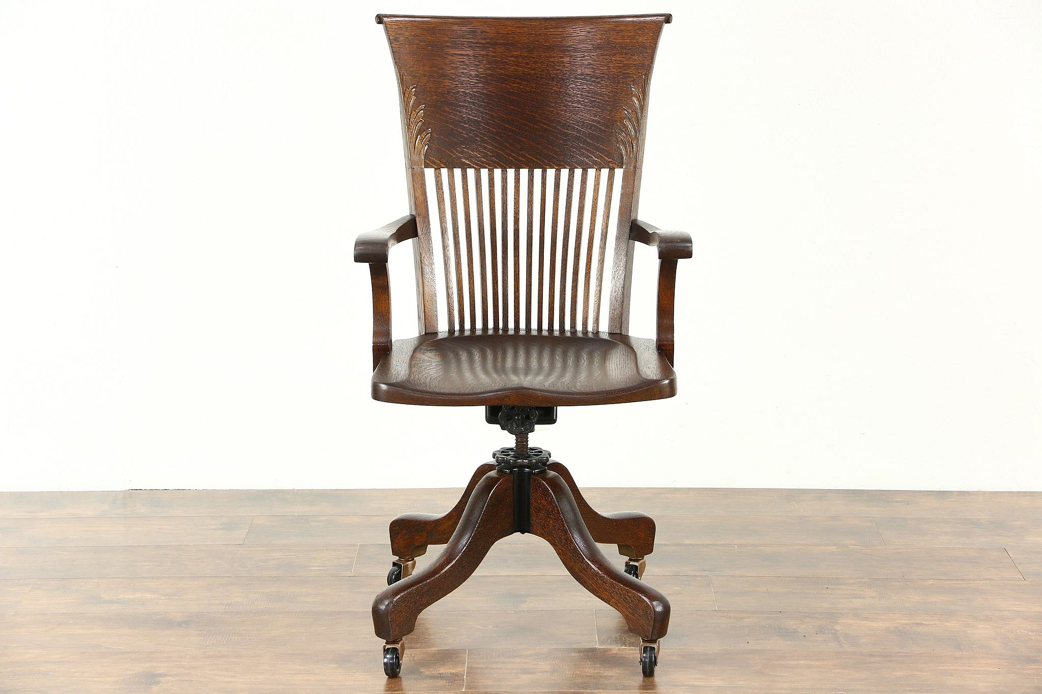 Oak Antique Swivel Adjustable Desk Chair  Arms   Wheels  SignedSOLD Chairs  Office and Desk   Harp Gallery Antiques. Antique Wooden Office Chairs With Casters. Home Design Ideas