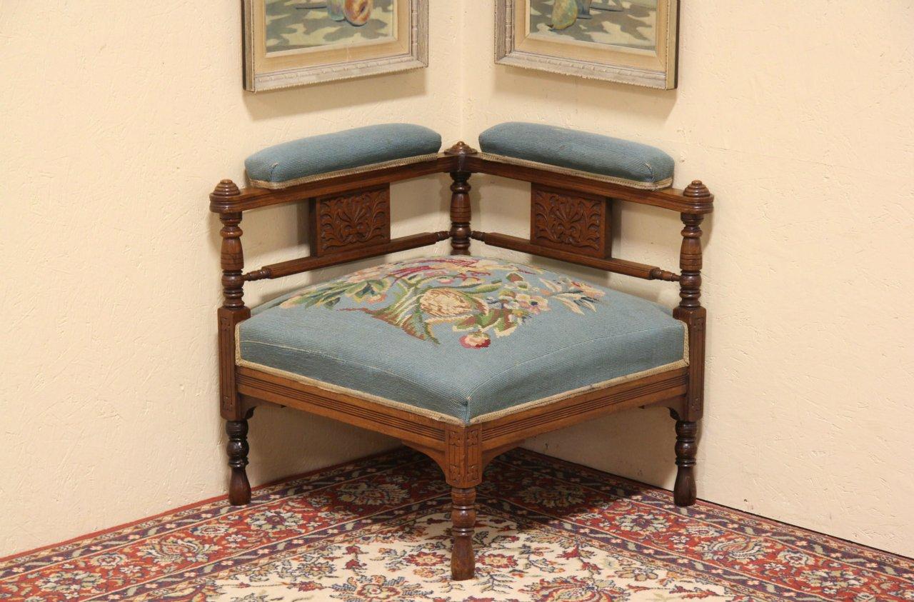 Eastlake Needlepoint 1880 Antique Corner Chair - SOLD - Eastlake Needlepoint 1880 Antique Corner Chair - Harp Gallery