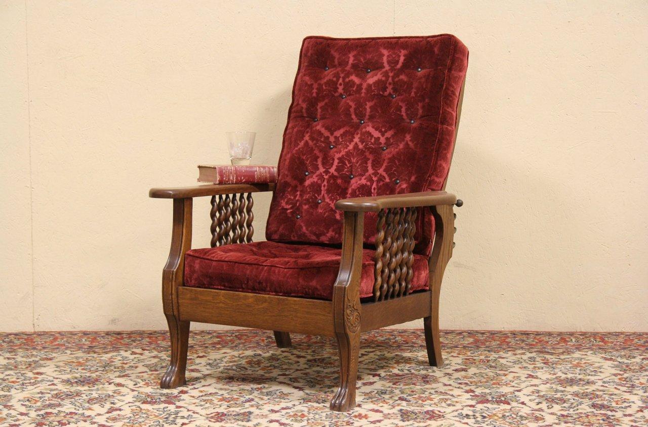 Sold Morris Adjustable Antique 1900 Oak Recliner Chair