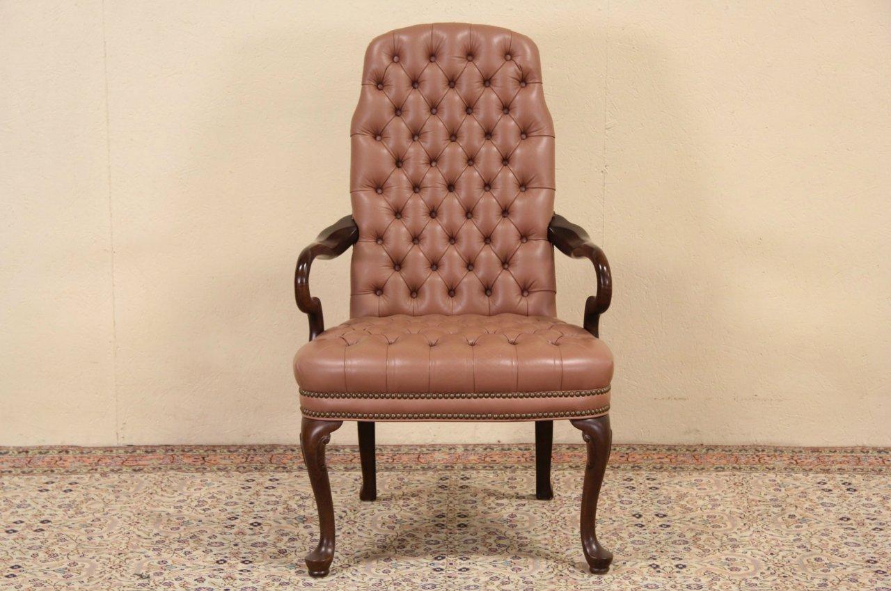Georgian Style Ethan Allen Tufted Leather Desk Chair