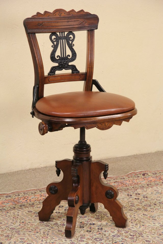 Swivel 1880 Eastlake Antique Musician Chair or Piano Stool, Leather - SOLD - Swivel 1880 Eastlake Antique Musician Chair Or Piano Stool