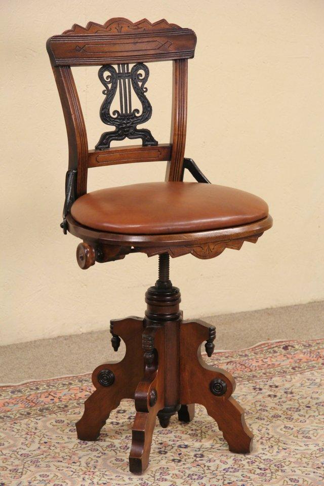 Swivel 1880 Eastlake Antique Musician Chair or Piano Stool, Leather - SOLD - Swivel 1880 Eastlake Antique Musician Chair Or Piano Stool