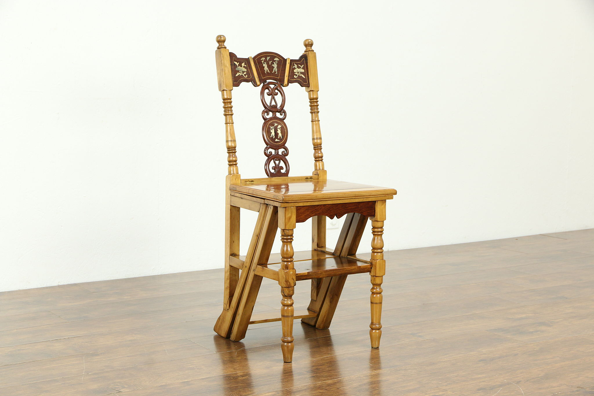 Sold Chinese Vintage Step Stool Or Ladder Chair Rosewood Pearl Inlay 33163 Harp Gallery Antiques Furniture